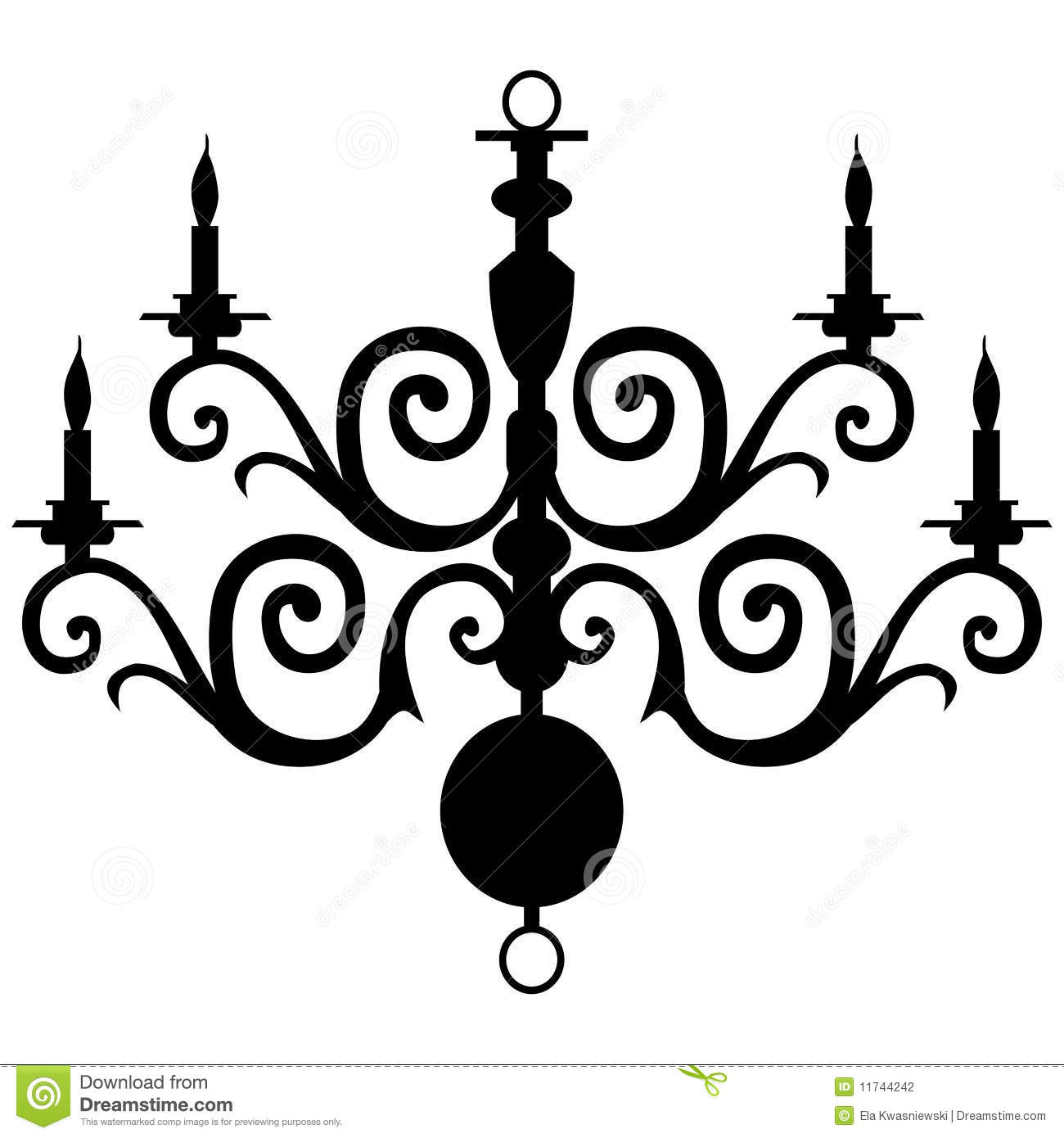 Vector Chandelier Silhouette Stock Vector