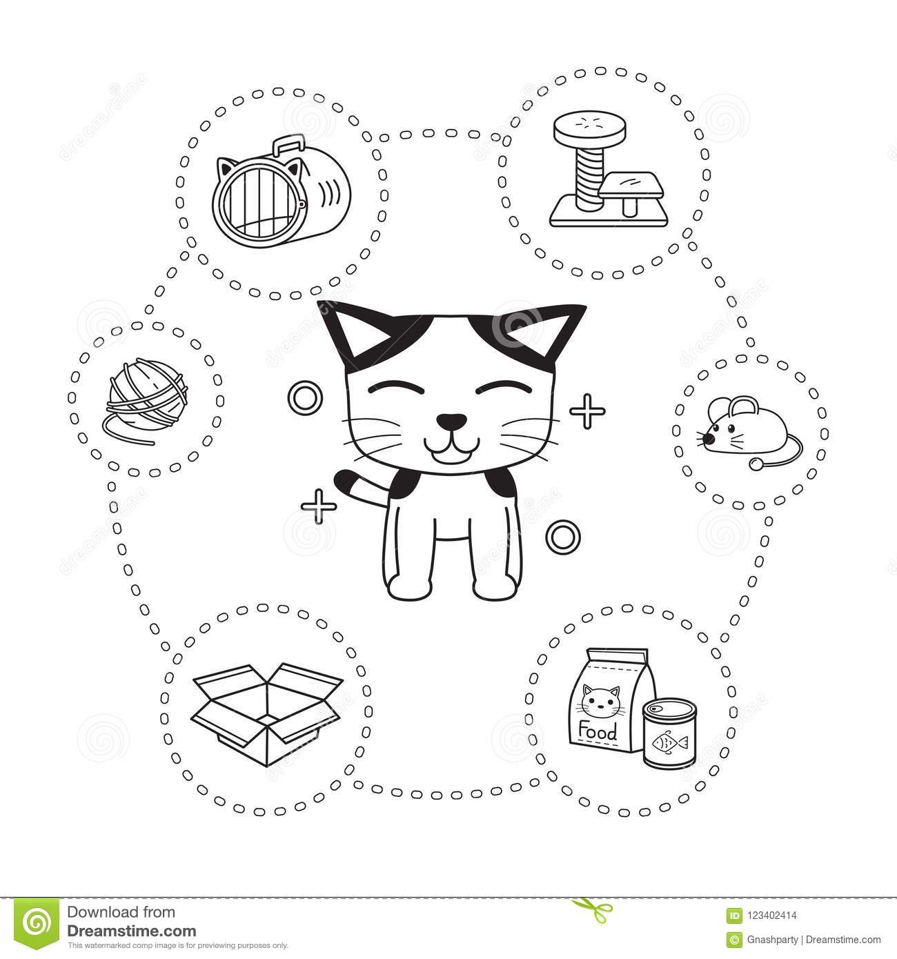 Vector Of Character Cat And Accessories Cartoon Style