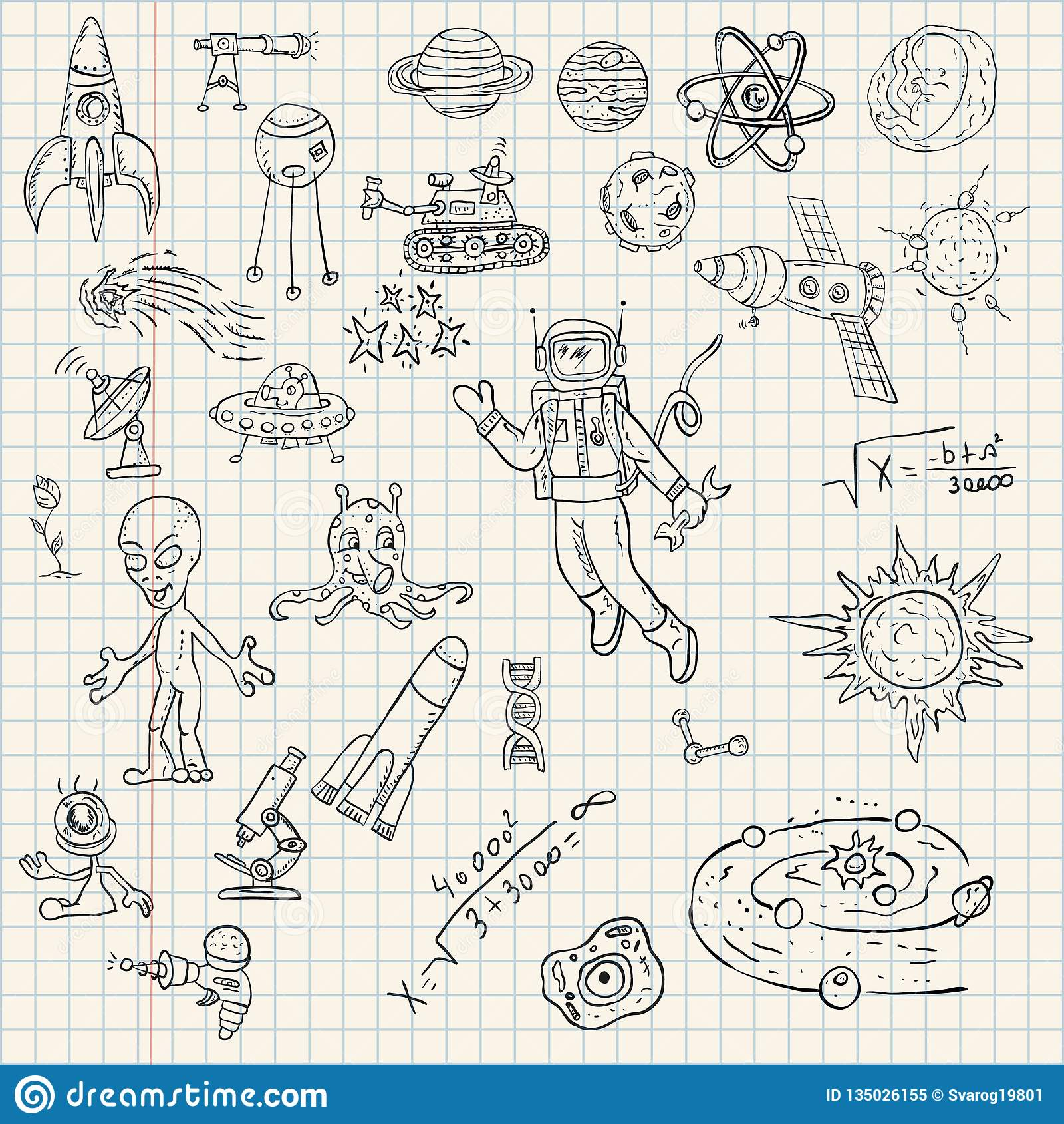 Childrens Drawings Coloring Pages On Space Theme Science