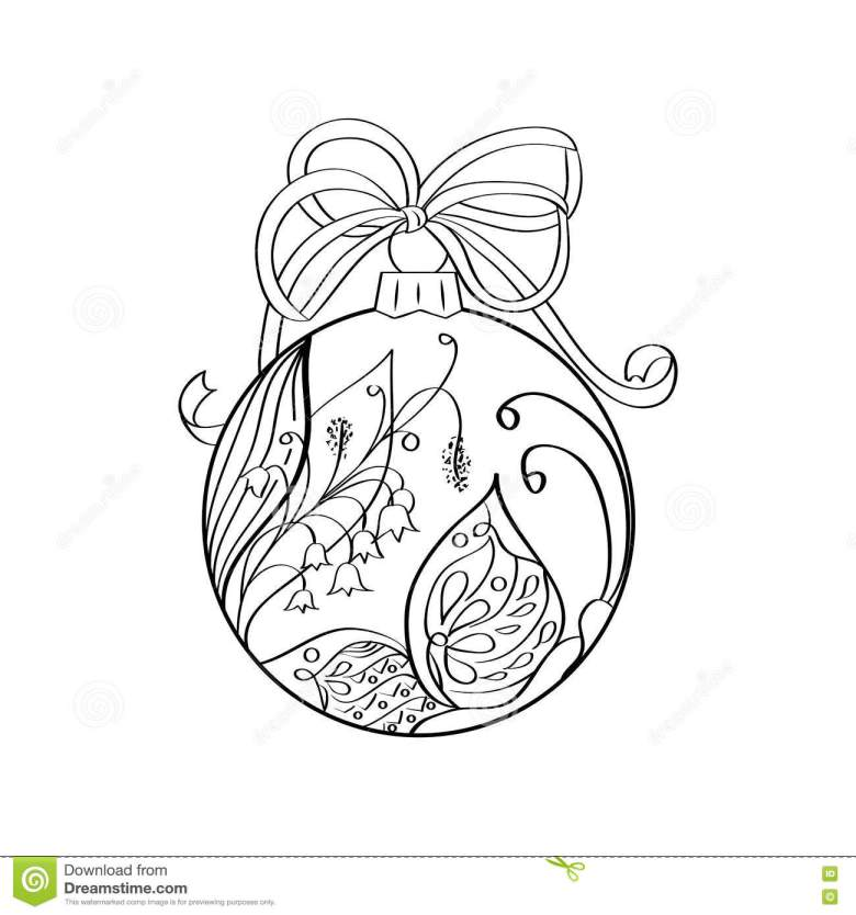 christmas ball zen-doodle art for adult coloring book page stock