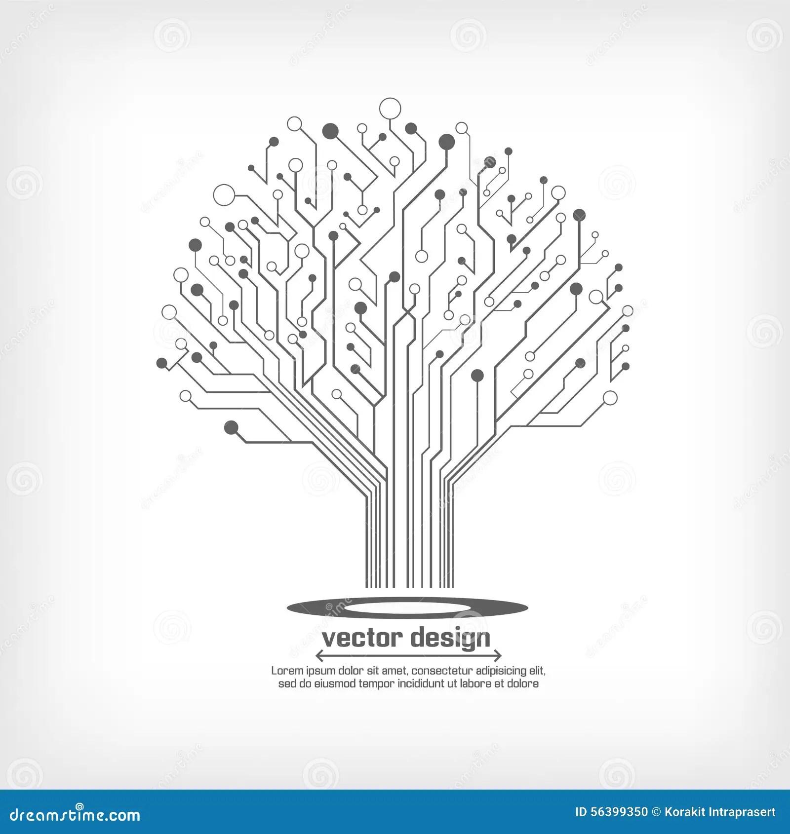 Vector Circuit Board Electronic Tree Stock Vector