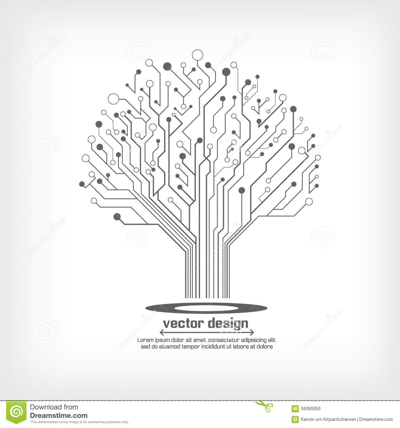 Vector Circuit Board Electronic Tree Stock Vector Image
