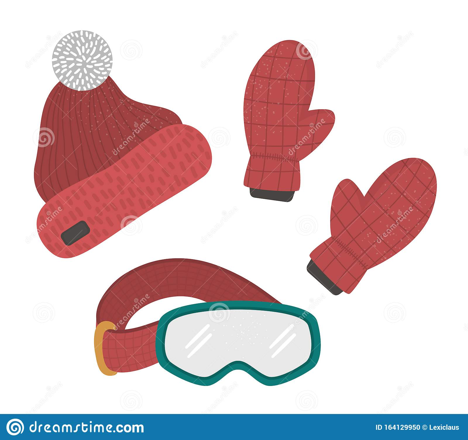 Vector Clothes Set For Winter Sport Activities Collection