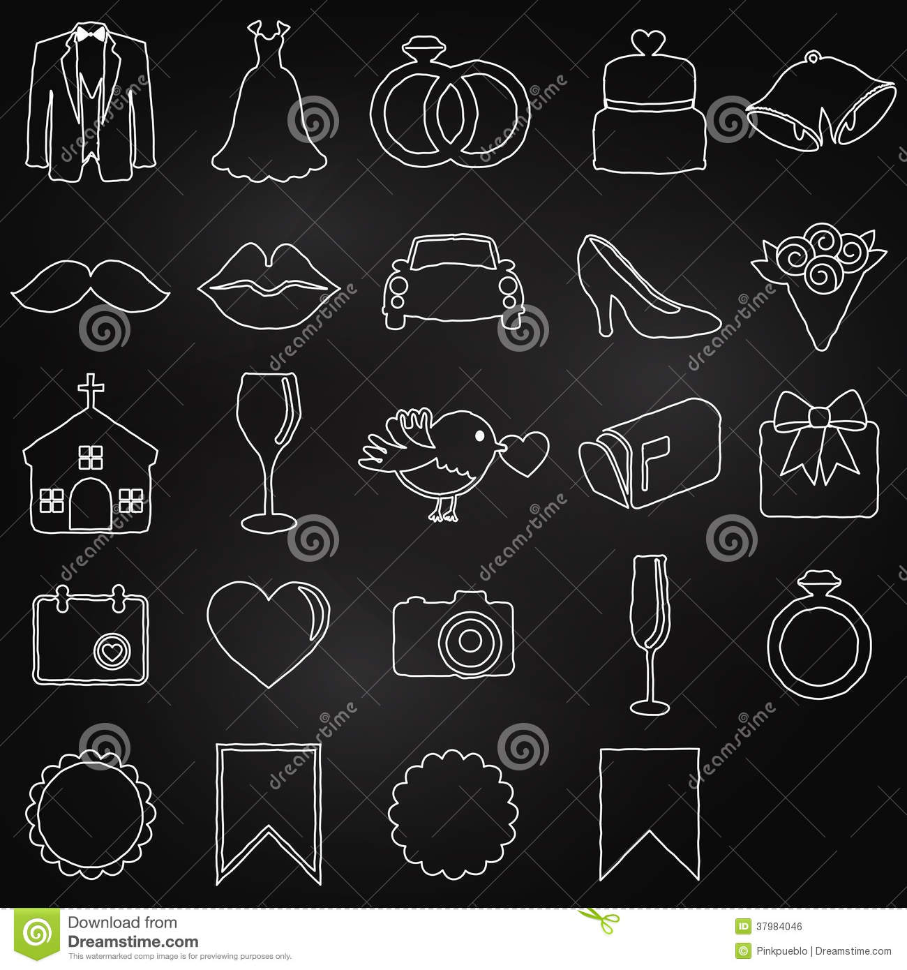 Vector Collection Of Chalkboard Wedding Doodles Royalty