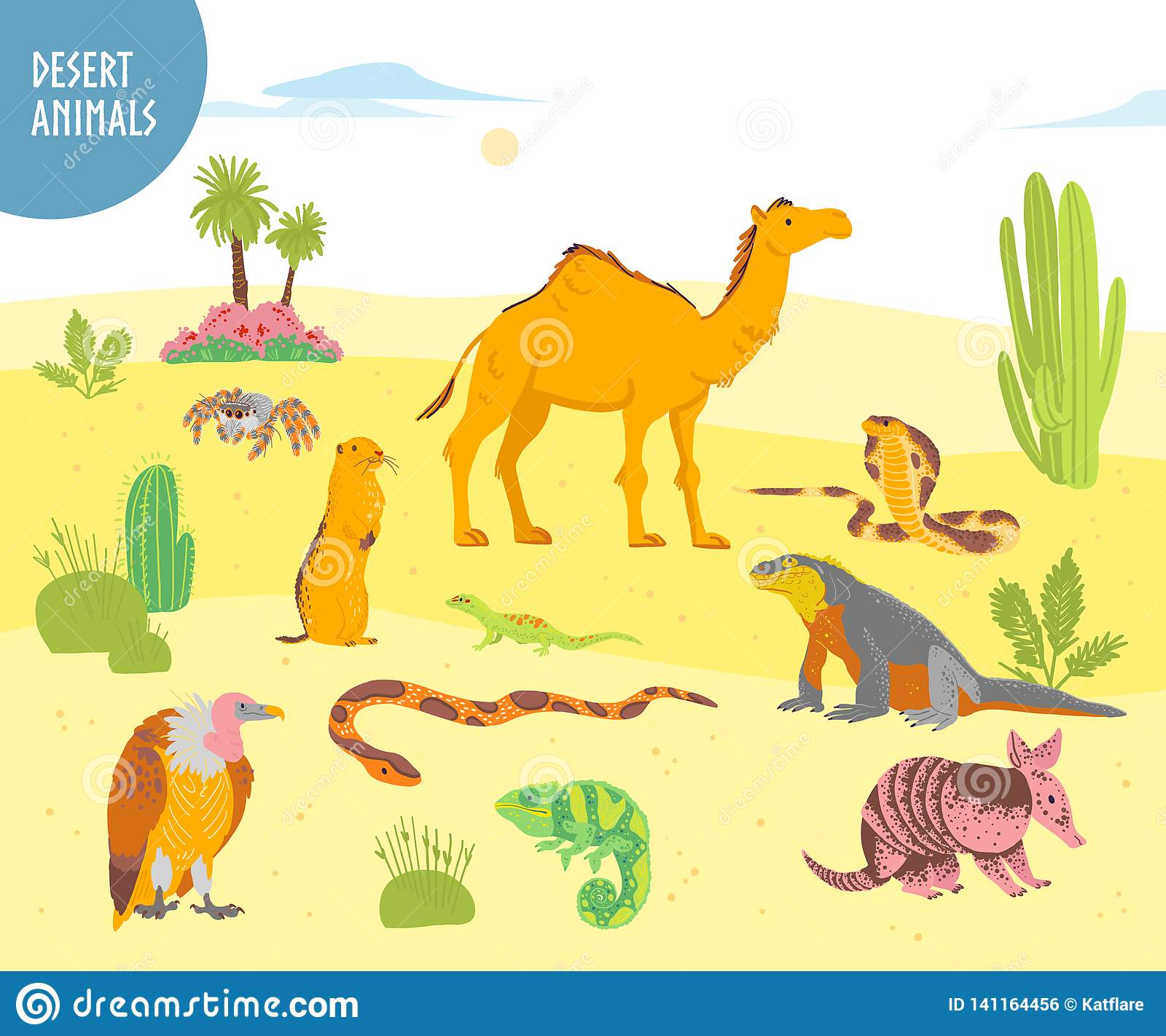 Vector Collection Of Flat Hand Drawn Desert Animal