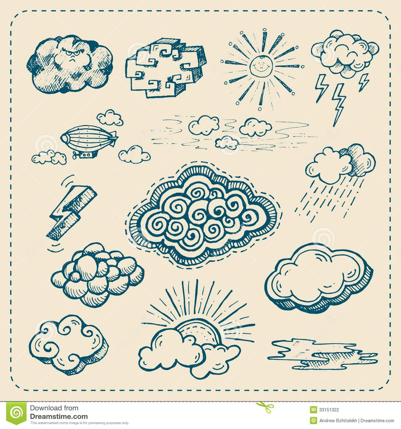 Vector Collection Of Hand Drawn Cloud Icons Stock