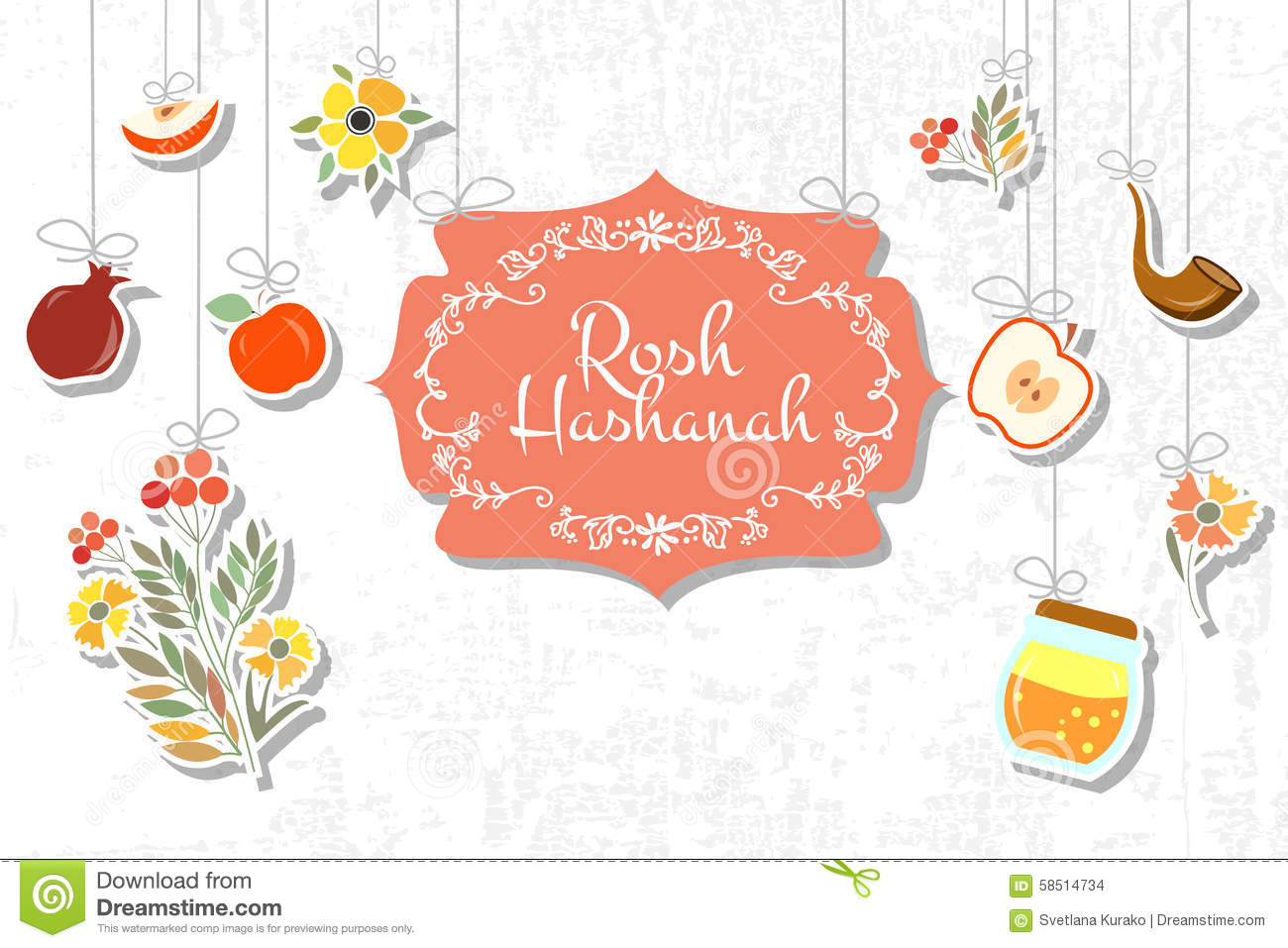 Vector Collection Of Labels And Elements For Jewish New Year Stock Vector