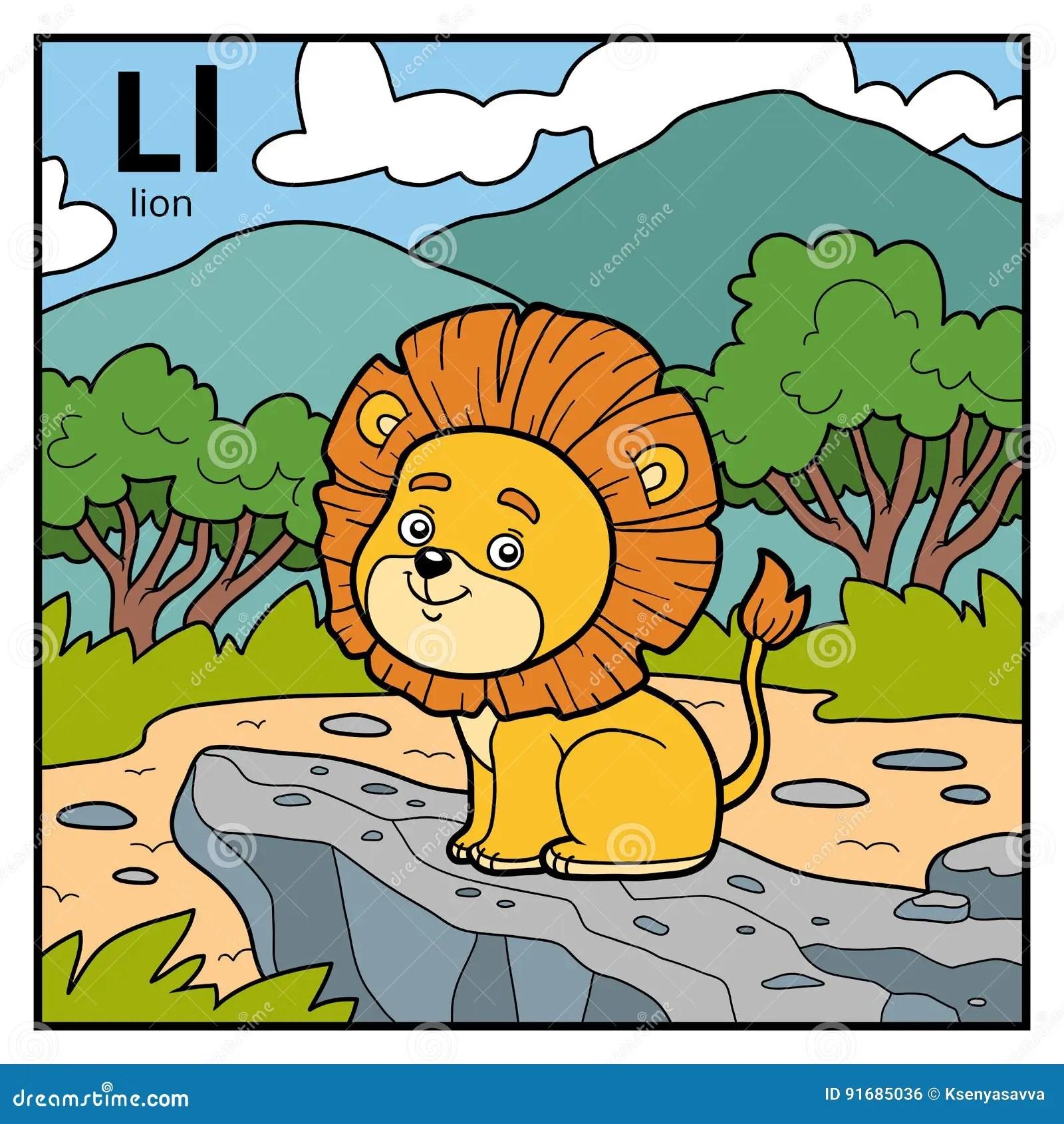 Color Alphabet For Children Letter L Lion Stock Vector