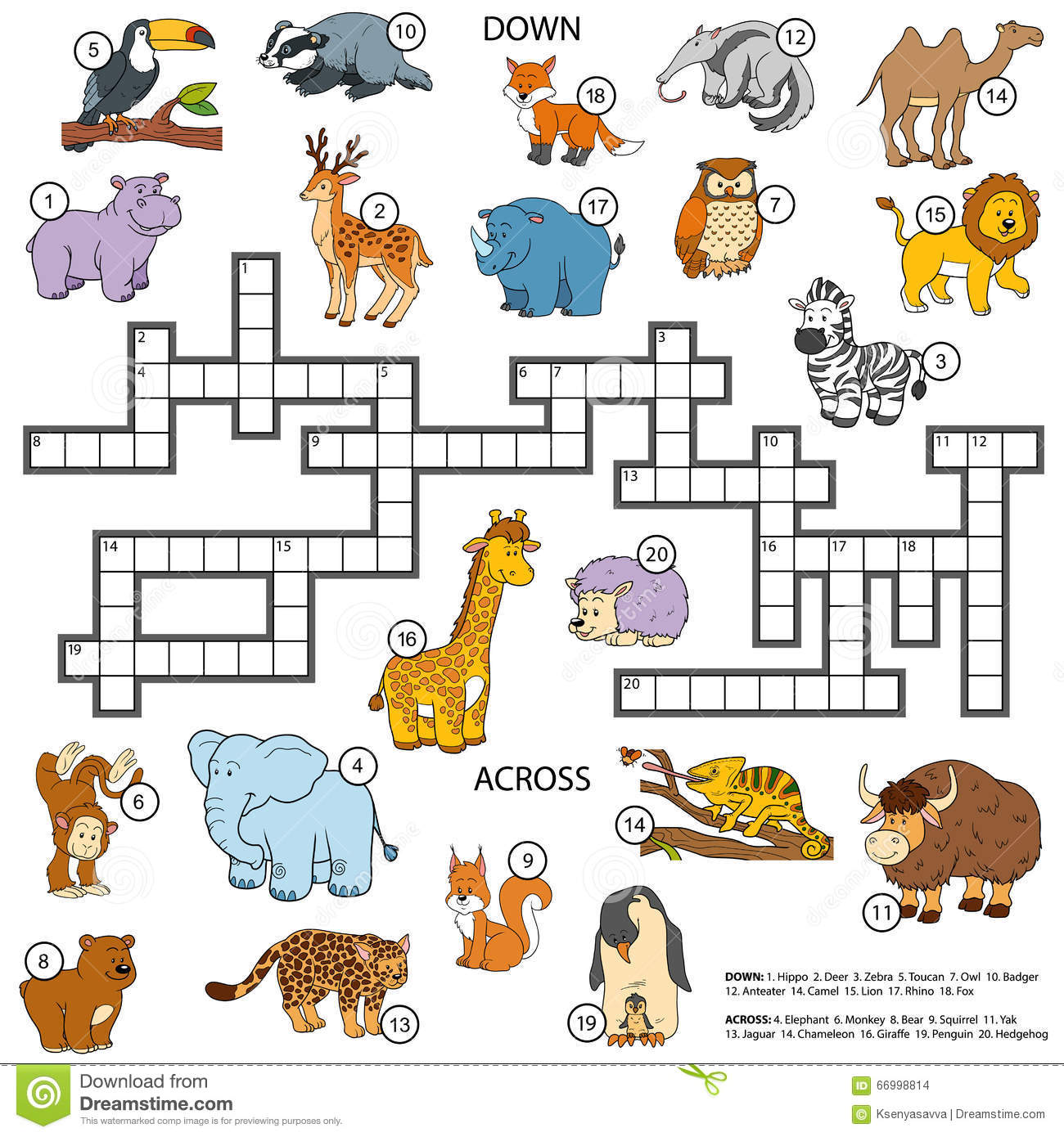 Vector Color Crossword About Animals Stock Vector