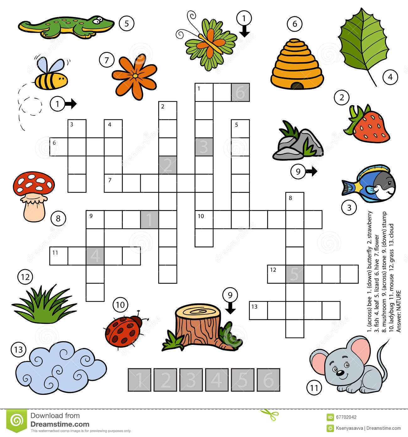 Vector Color Crossword For Children About Nature Stock Vector
