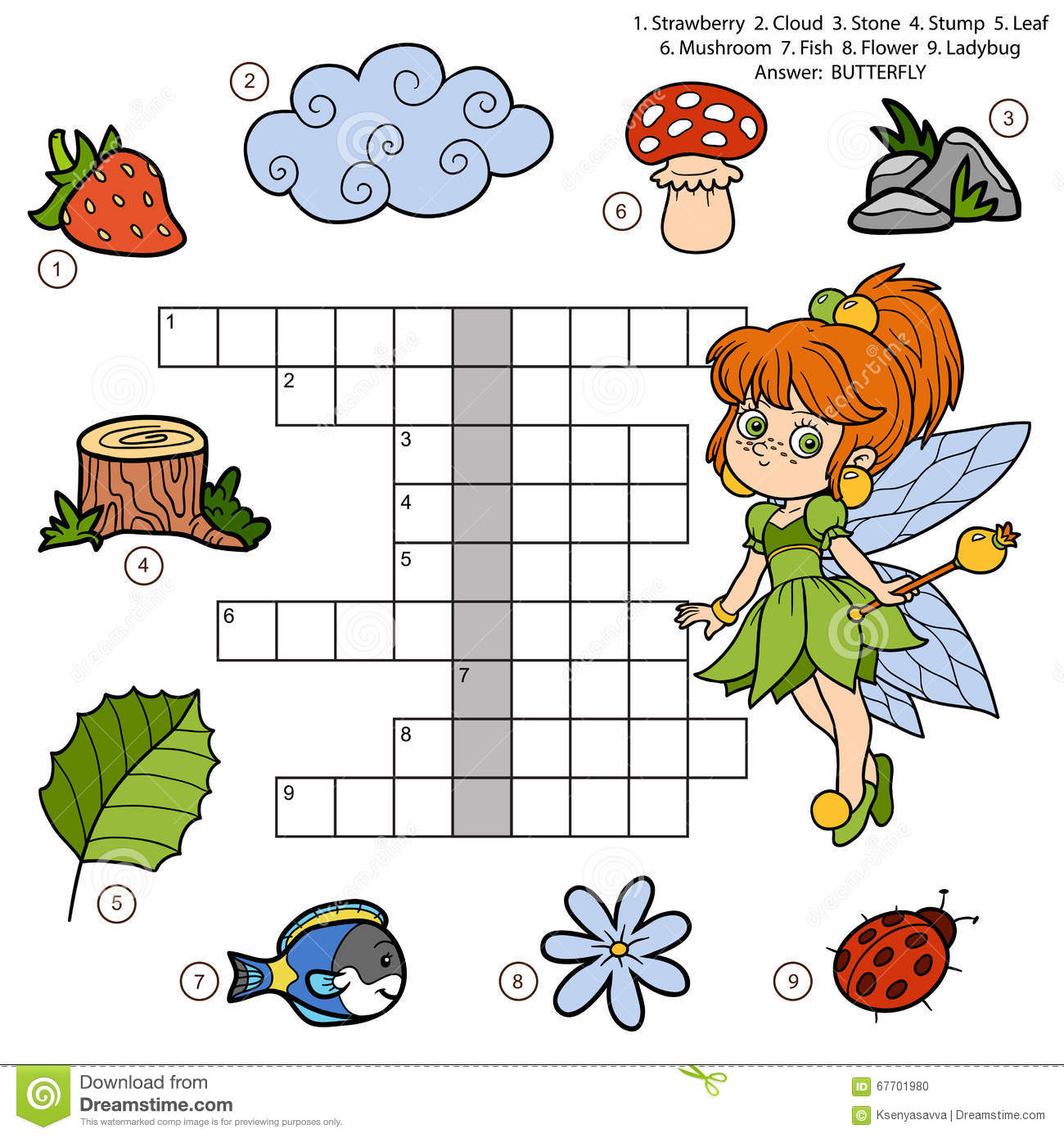 Vector Color Crossword Education Game For Children About