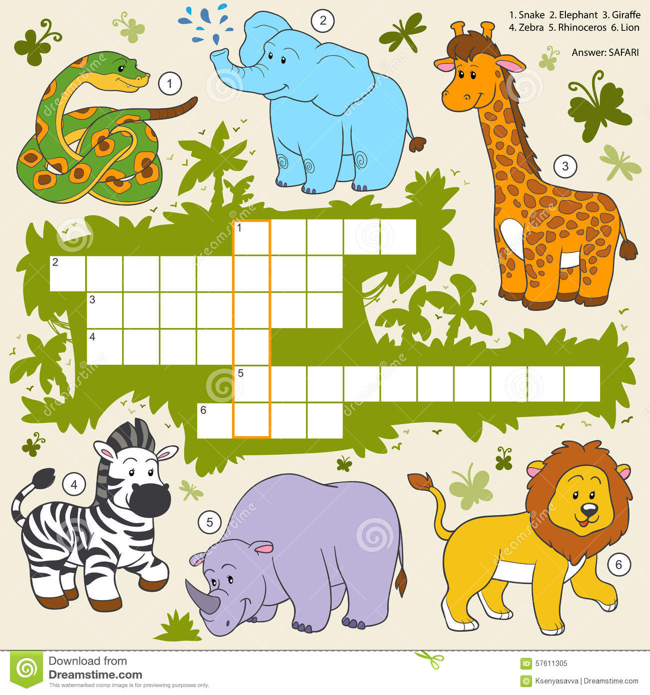 Vector Color Crossword Education Game About Safari