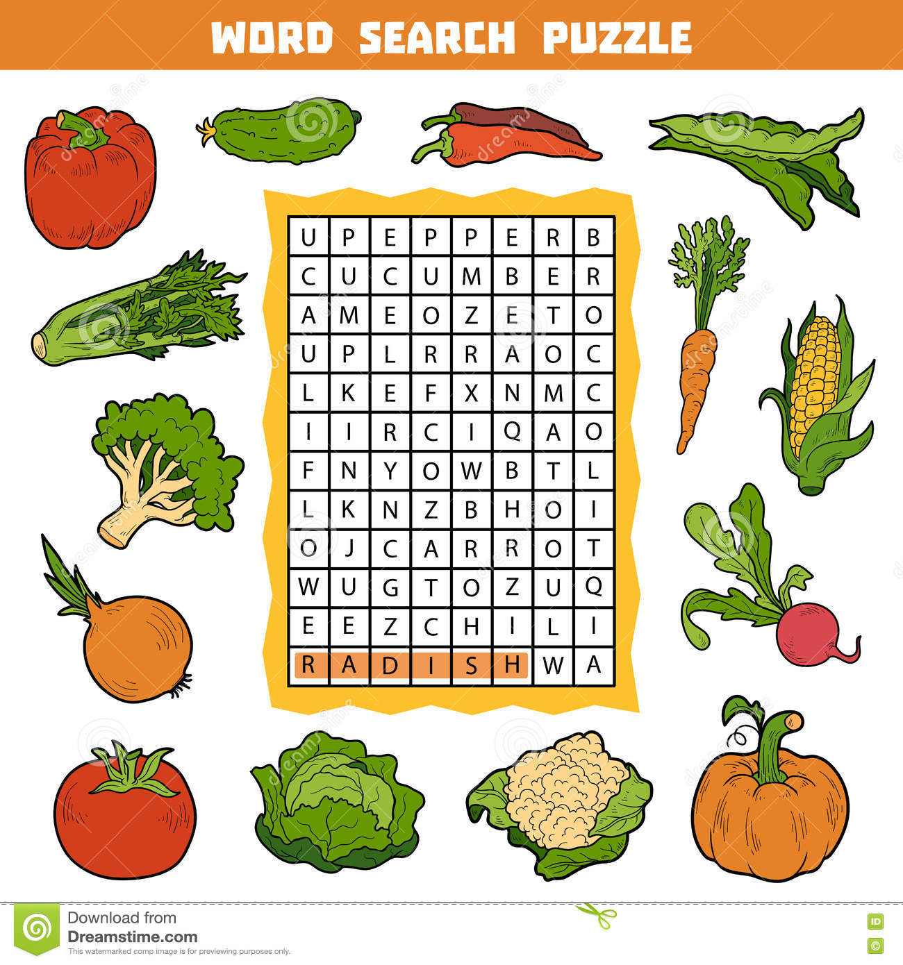 Vector Color Crossword About Vegetables Word Search