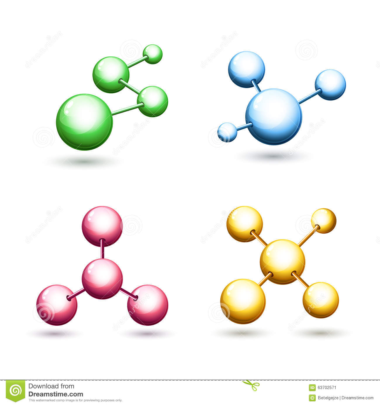 Vector Colorful Molecular Icons Set Atoms And Molecules