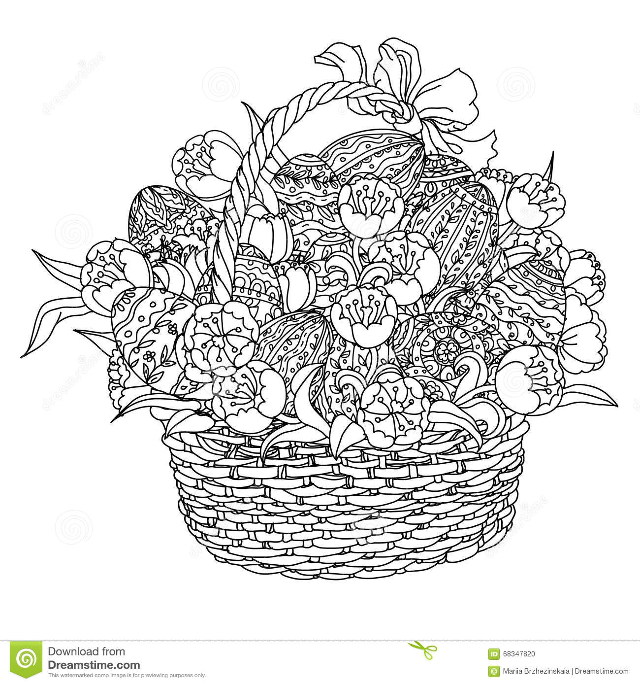 Vector Coloring Book For Adult Easter Egg Stock Vector