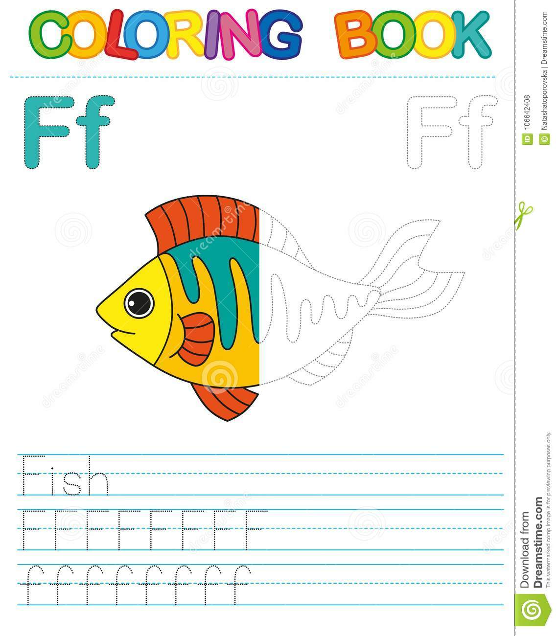 Vector Coloring Book Alphabet Restore Dashed Line And Color The Picture Letter F Fish Stock