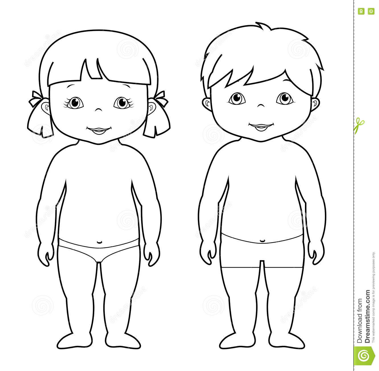 Vector Coloring Page Of Cute Baby Boy And Girl Stock Vector