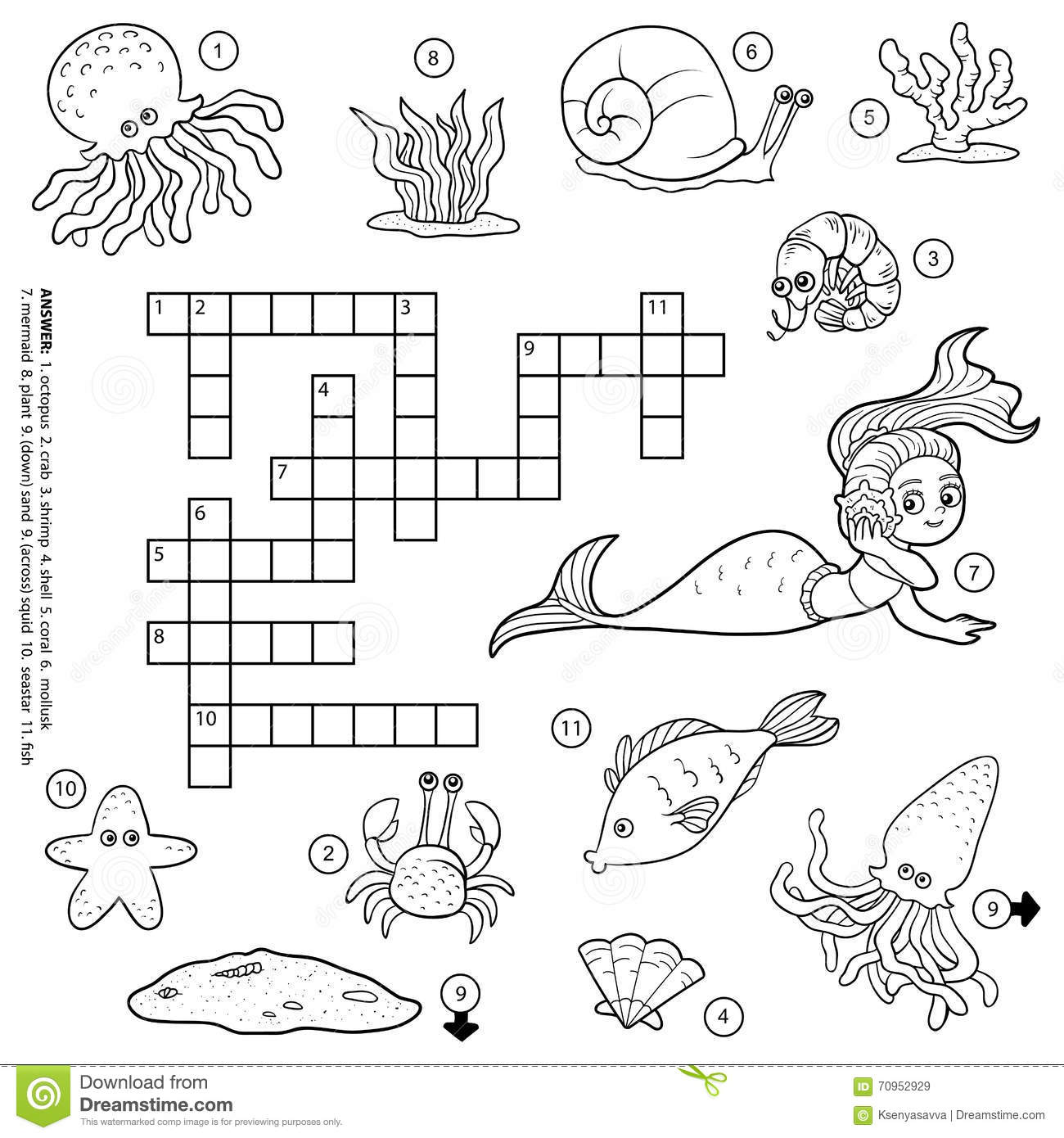 Vector Colorless Crossword About Sea Life Stock Vector