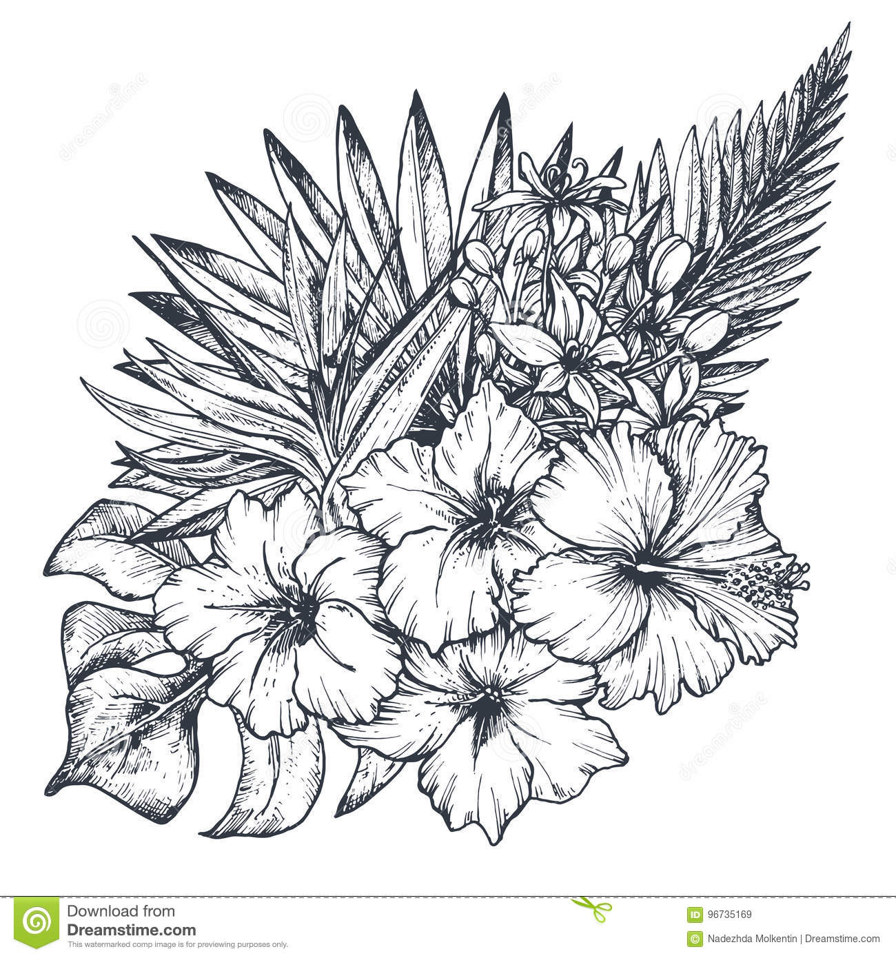 Vector Composition Of Hand Drawn Tropical Flowers Palm