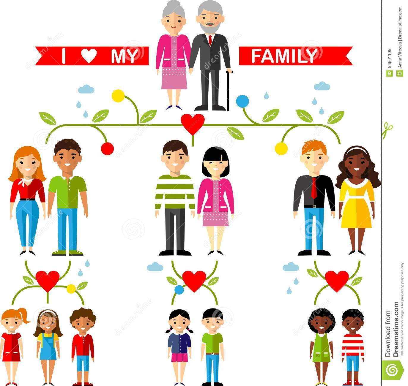 Vector Concept Of International Family Tree Stock Vector