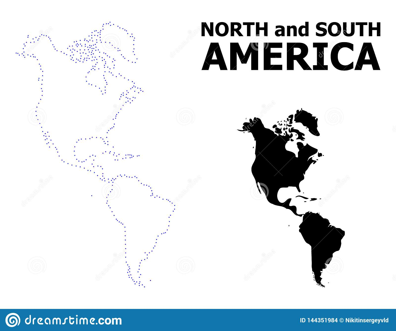 Vector Contour Dotted Map Of South And North America With