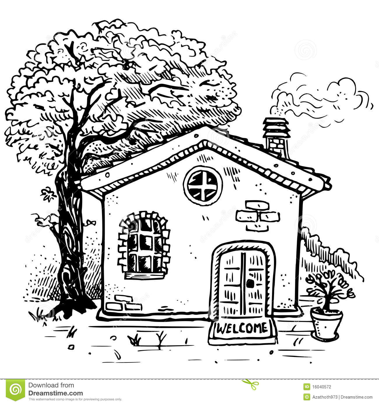 Vector Country House Stock Vector Illustration Of Plant
