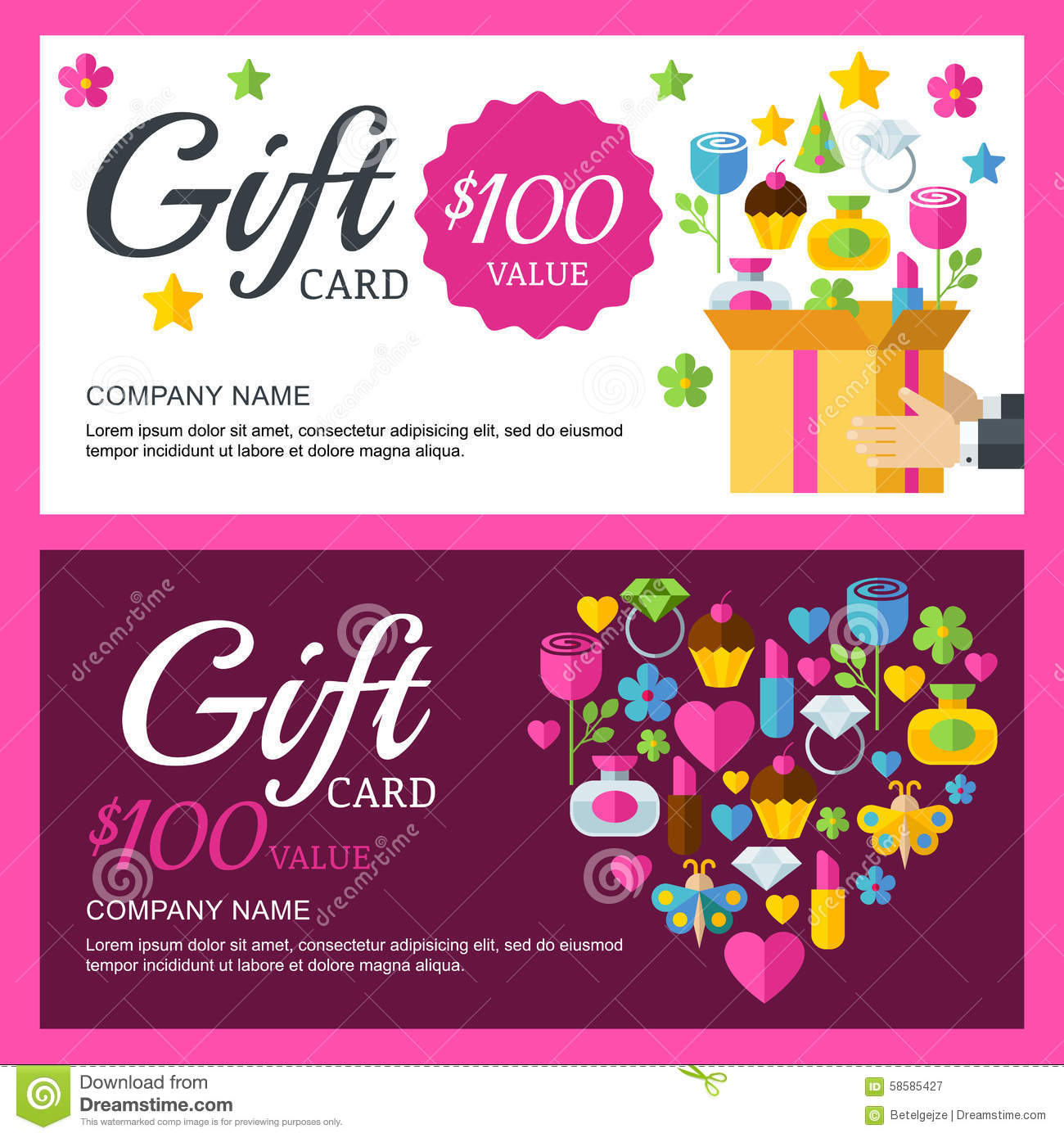 Vector Coupon Or Voucher Background Template Box With