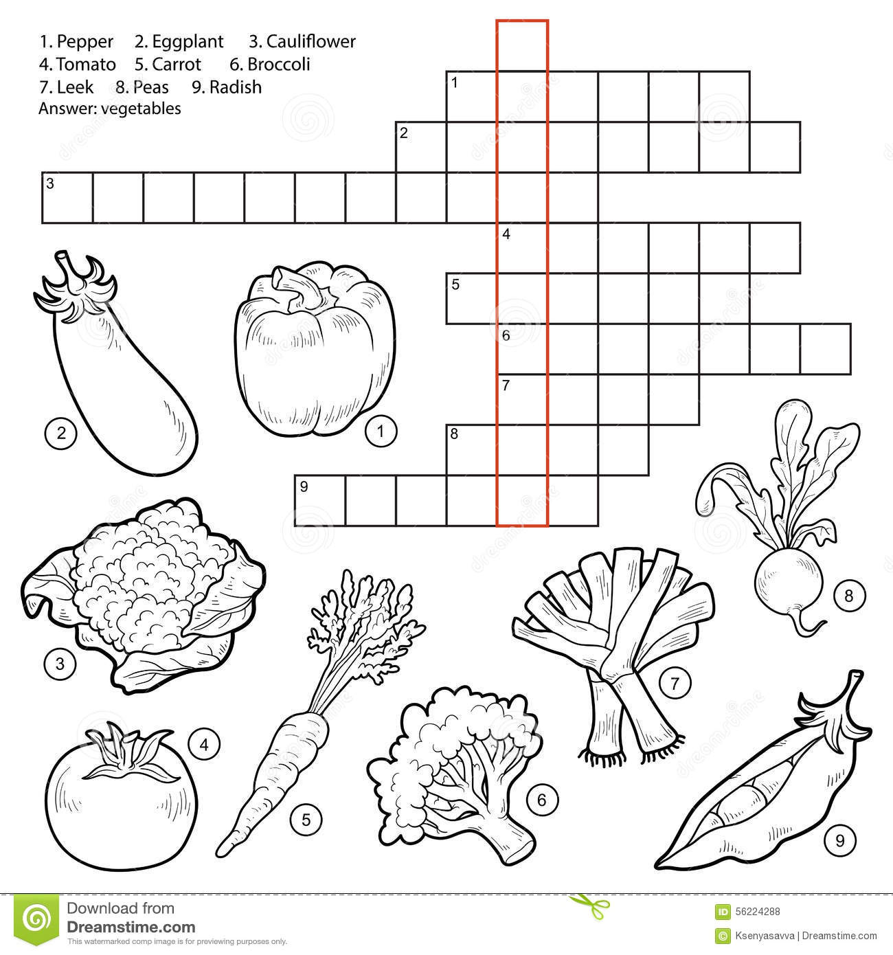 Vector Crossword Game For Children About Vegetables Stock