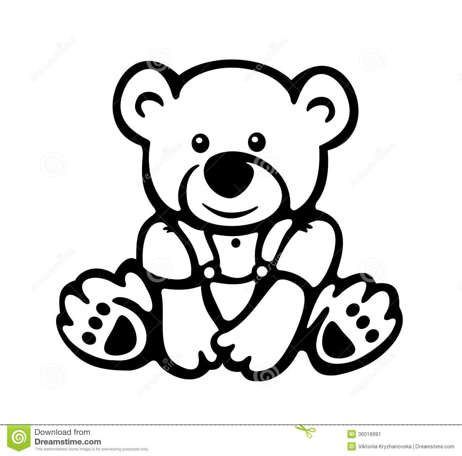 Vector Of Cute Baby Bear Silhouette Stock Vector