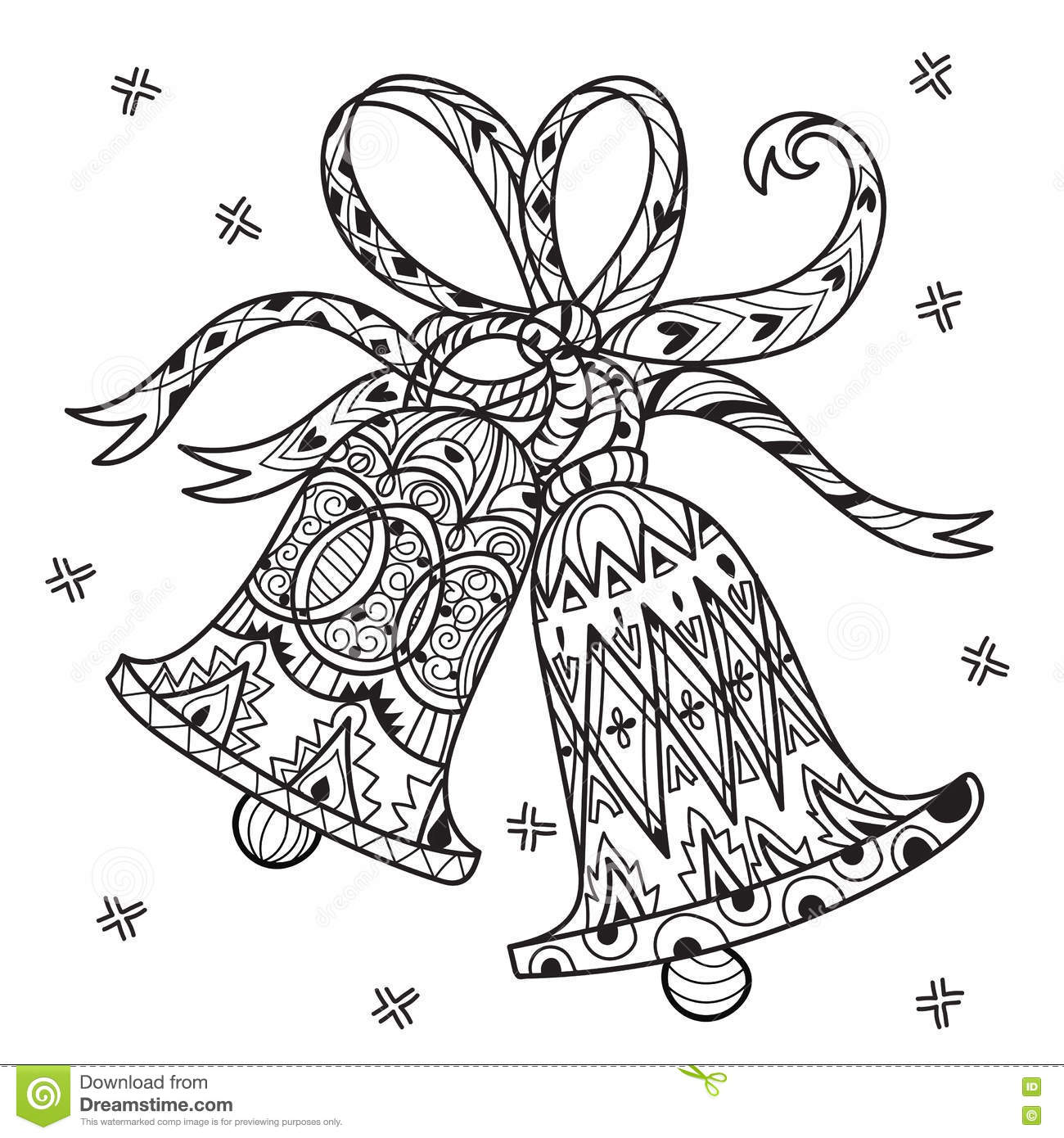 Vector Cute Fairy Doodle Christmas Bells Stock Vector