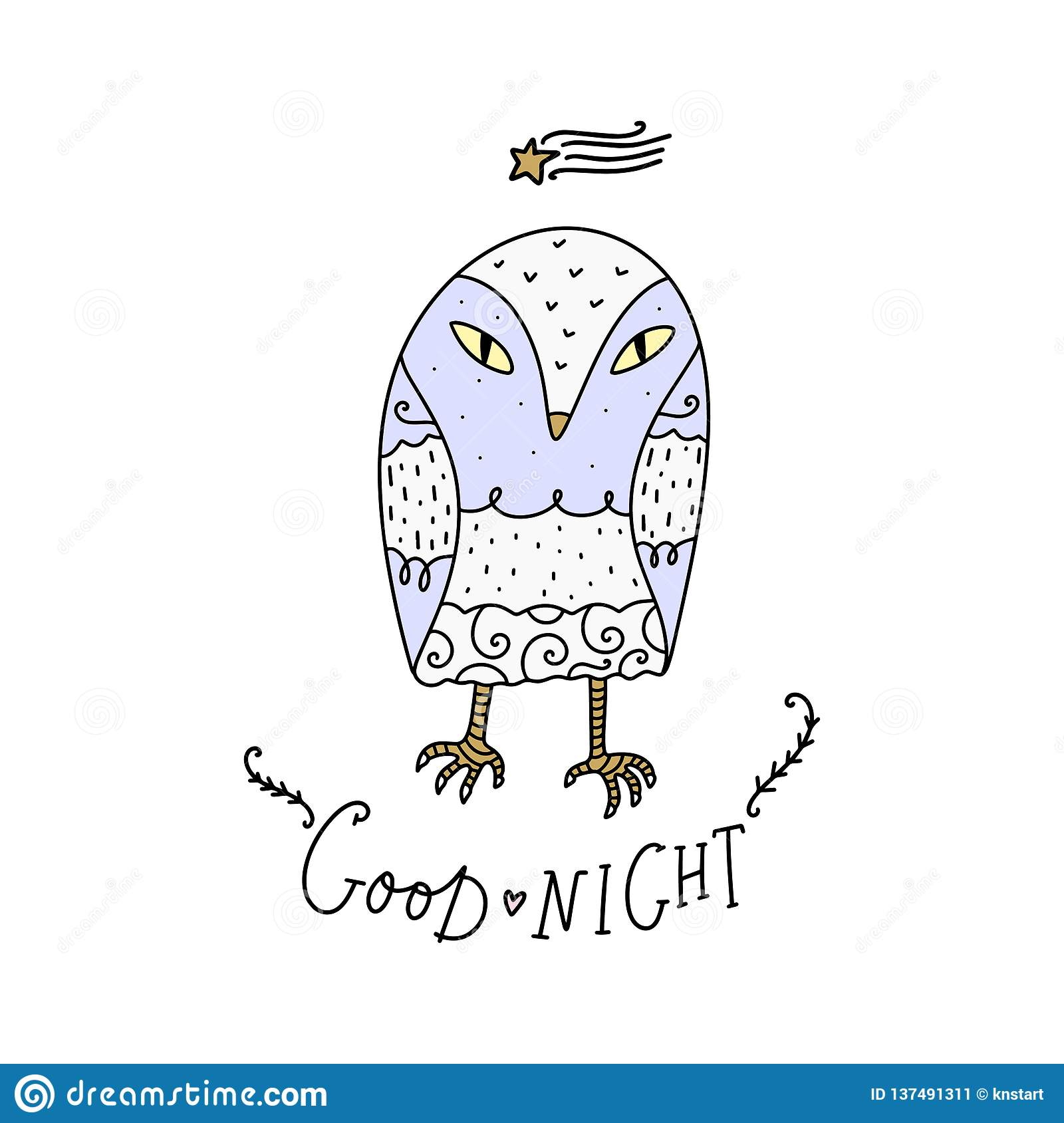 Vector Cute Little Owl And Lettering Text Good Night