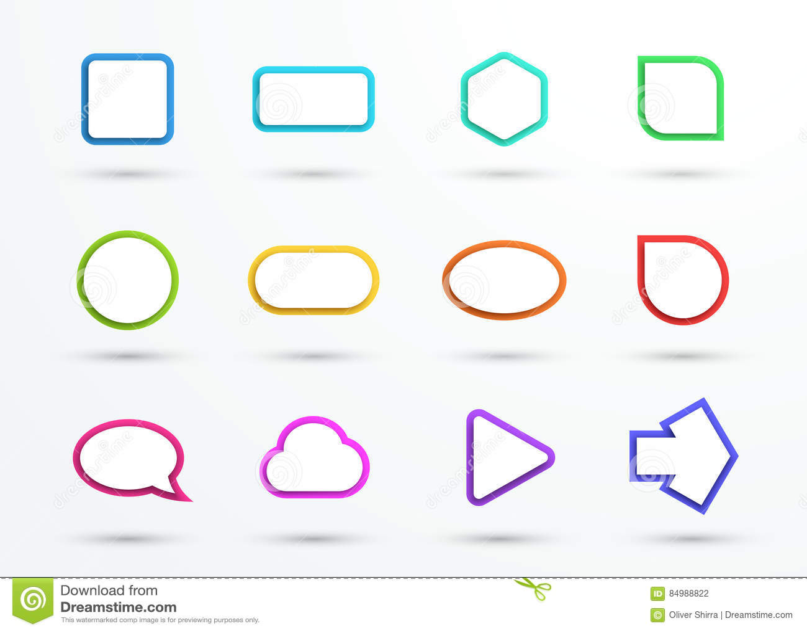 Vector 3d Color Text Box Frames Different Shapes Set Of 12