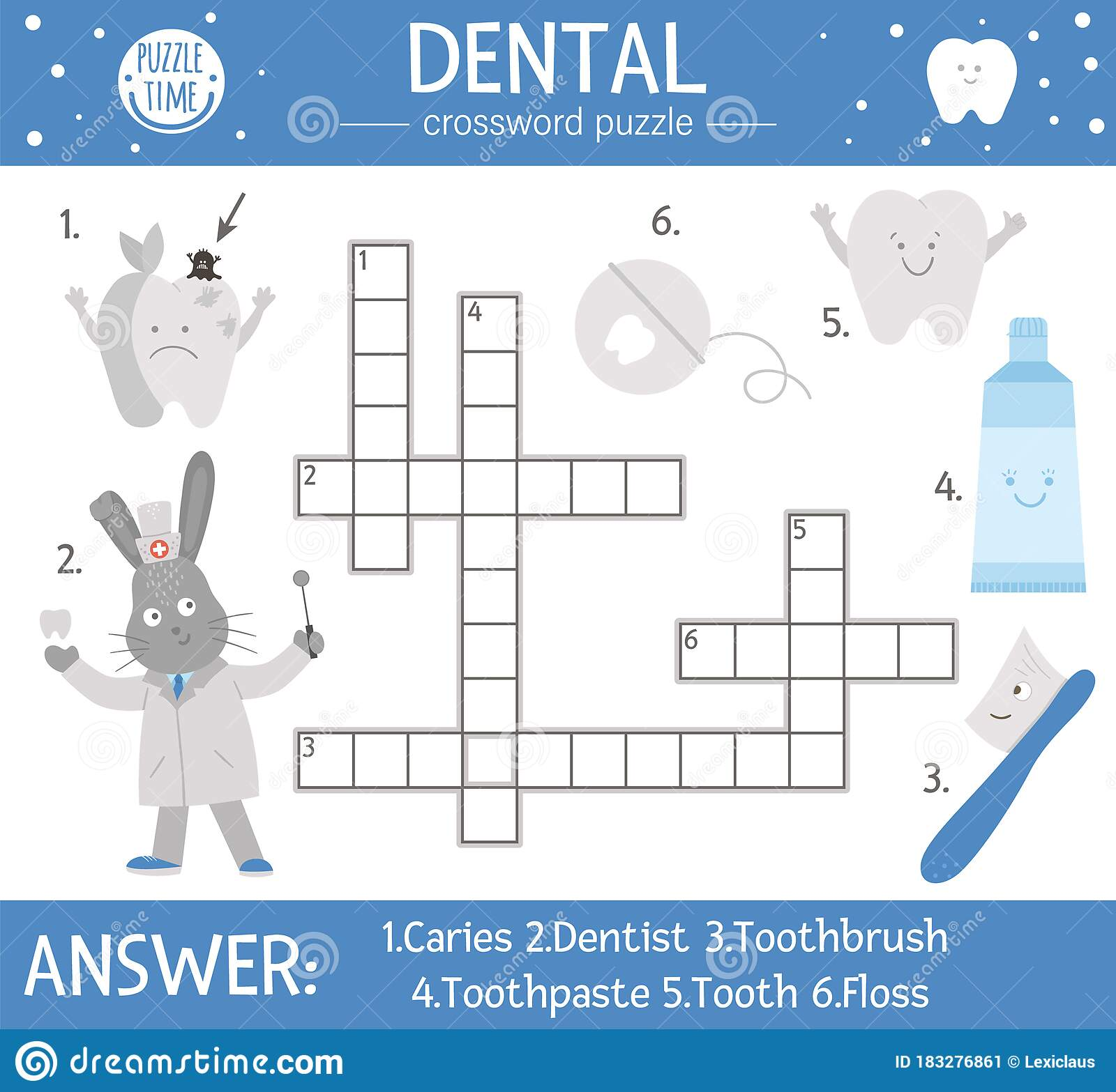 Vector Dental Care Crossword Puzzle Mouth Hygiene Quiz