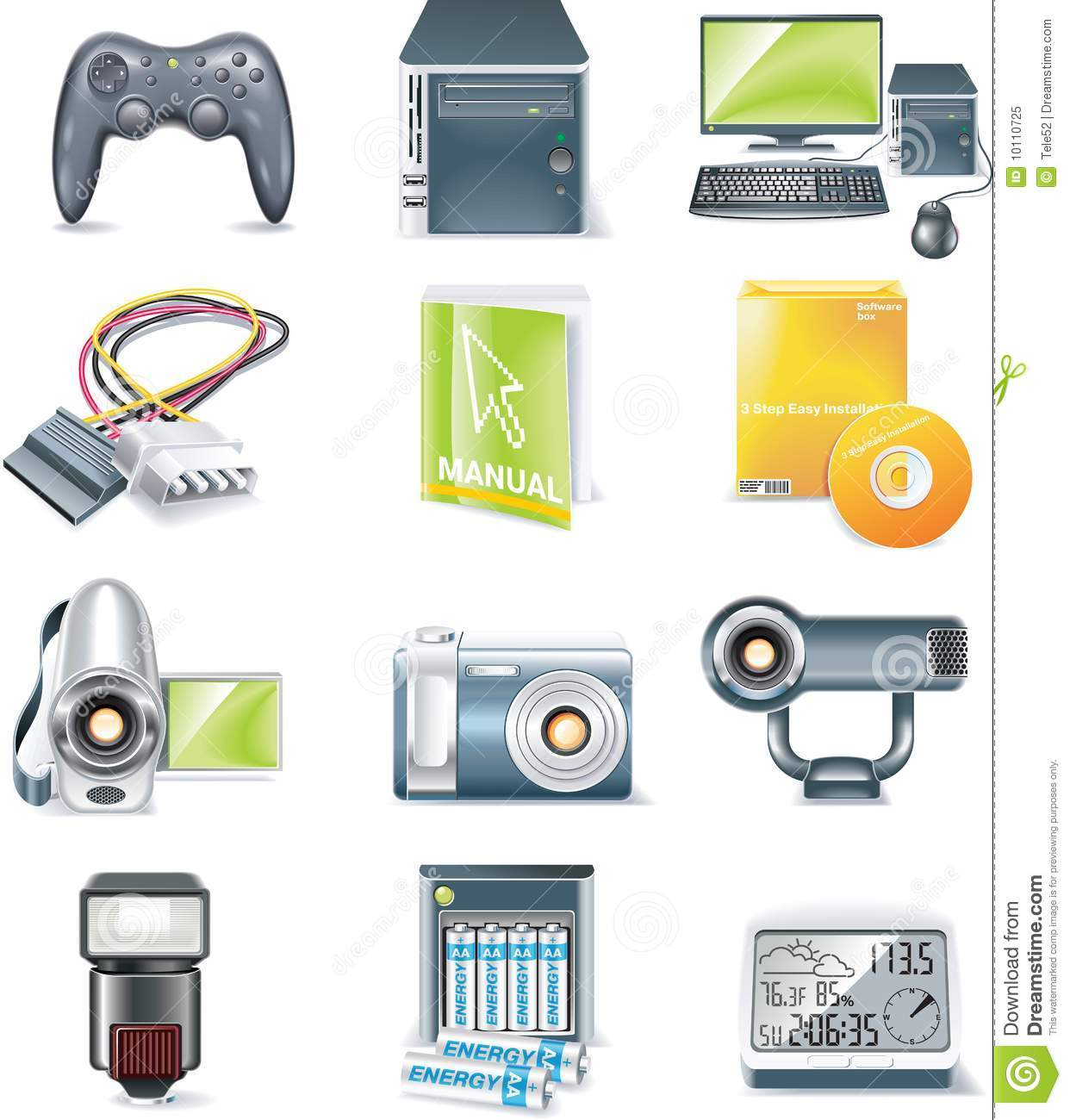 Vector Detailed Computer Parts Icon Set Part 5 Royalty