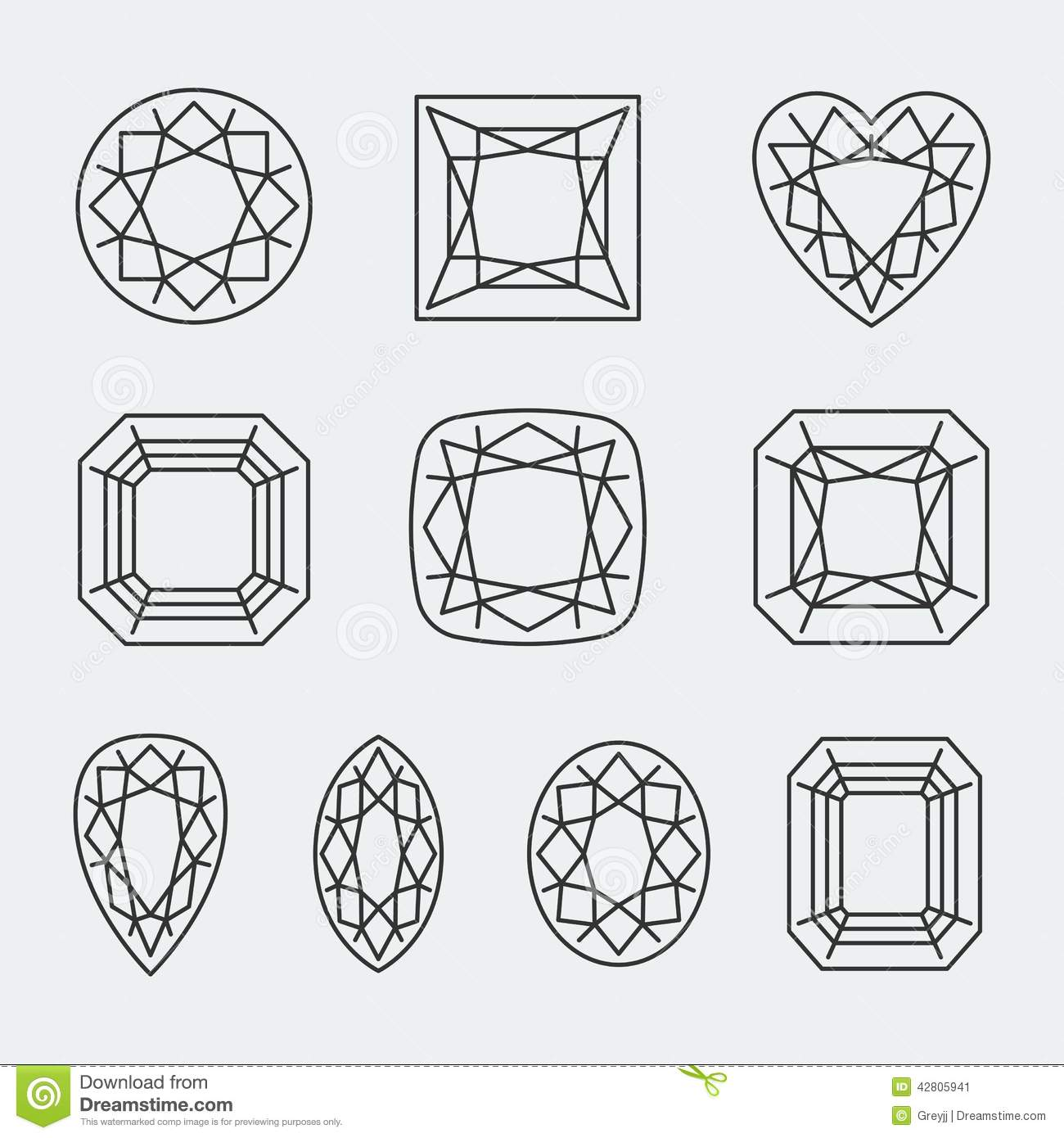 Vector Diamond Cuts Icons Stock Vector Illustration Of