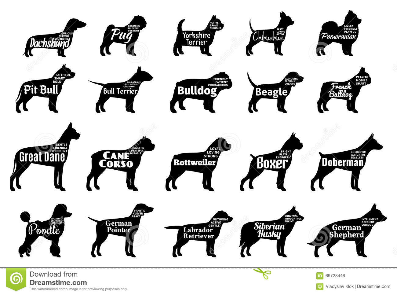 Vector Dog Silhouettes Collection On White Dogs Breeds