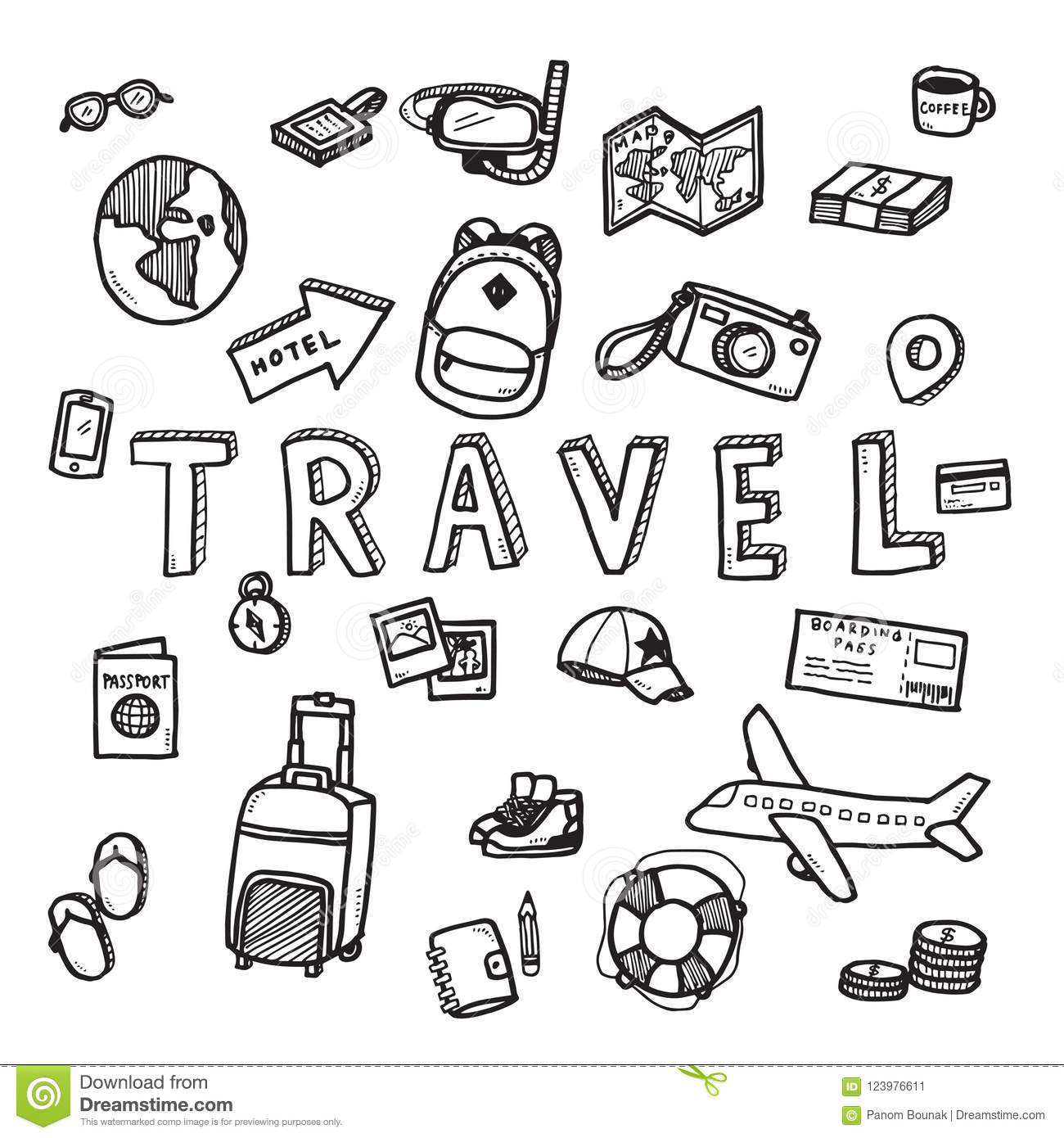 Vector Doodle Sketch Of Travel And Tourist Concept On