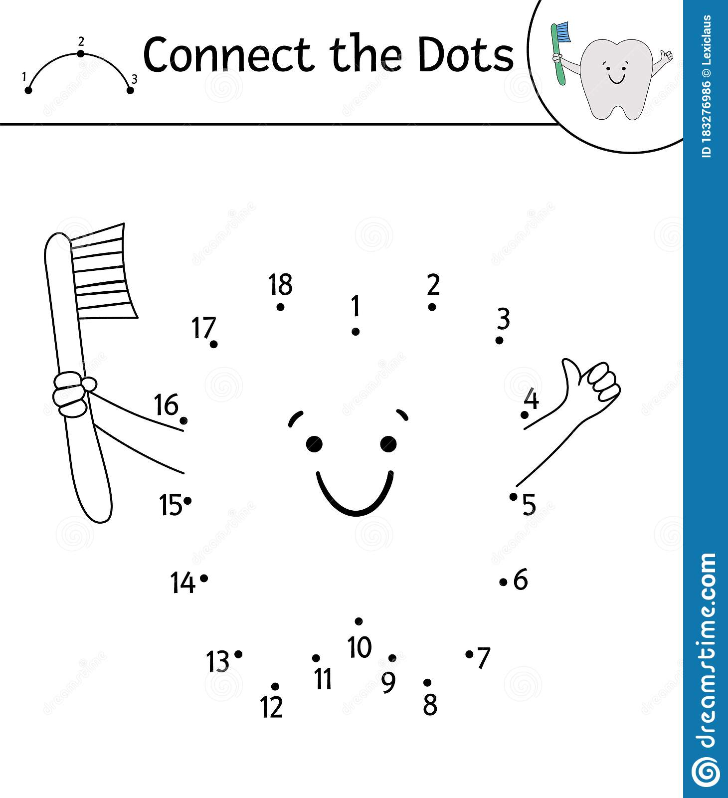 Vector Dot To Dot Activity With Cute Kawaii Tooth Holding