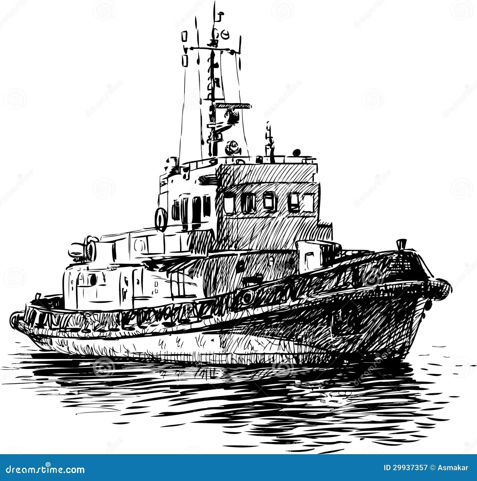 Coast Guard Boat Stock Vector Illustration Of Sketch