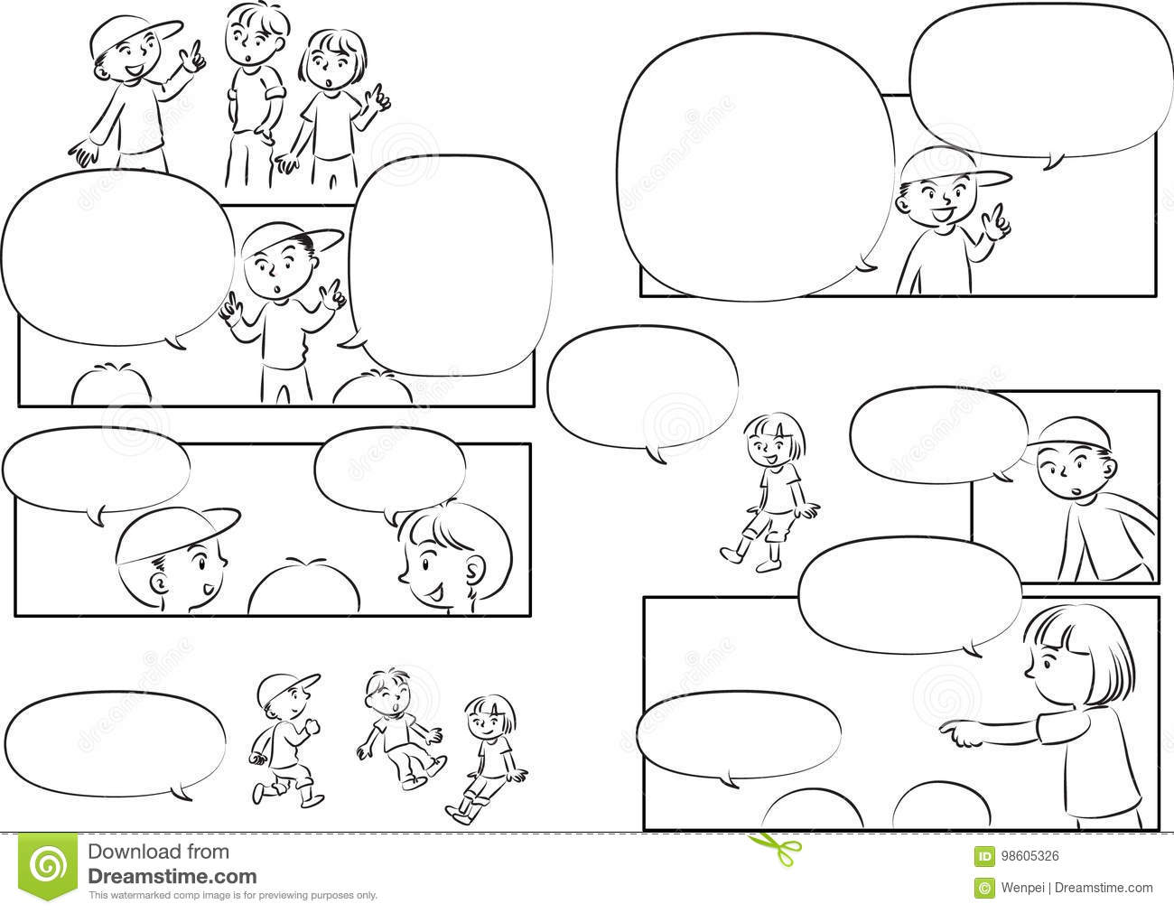 Vector Drawing Kids Talk With Speech Bubble Stock