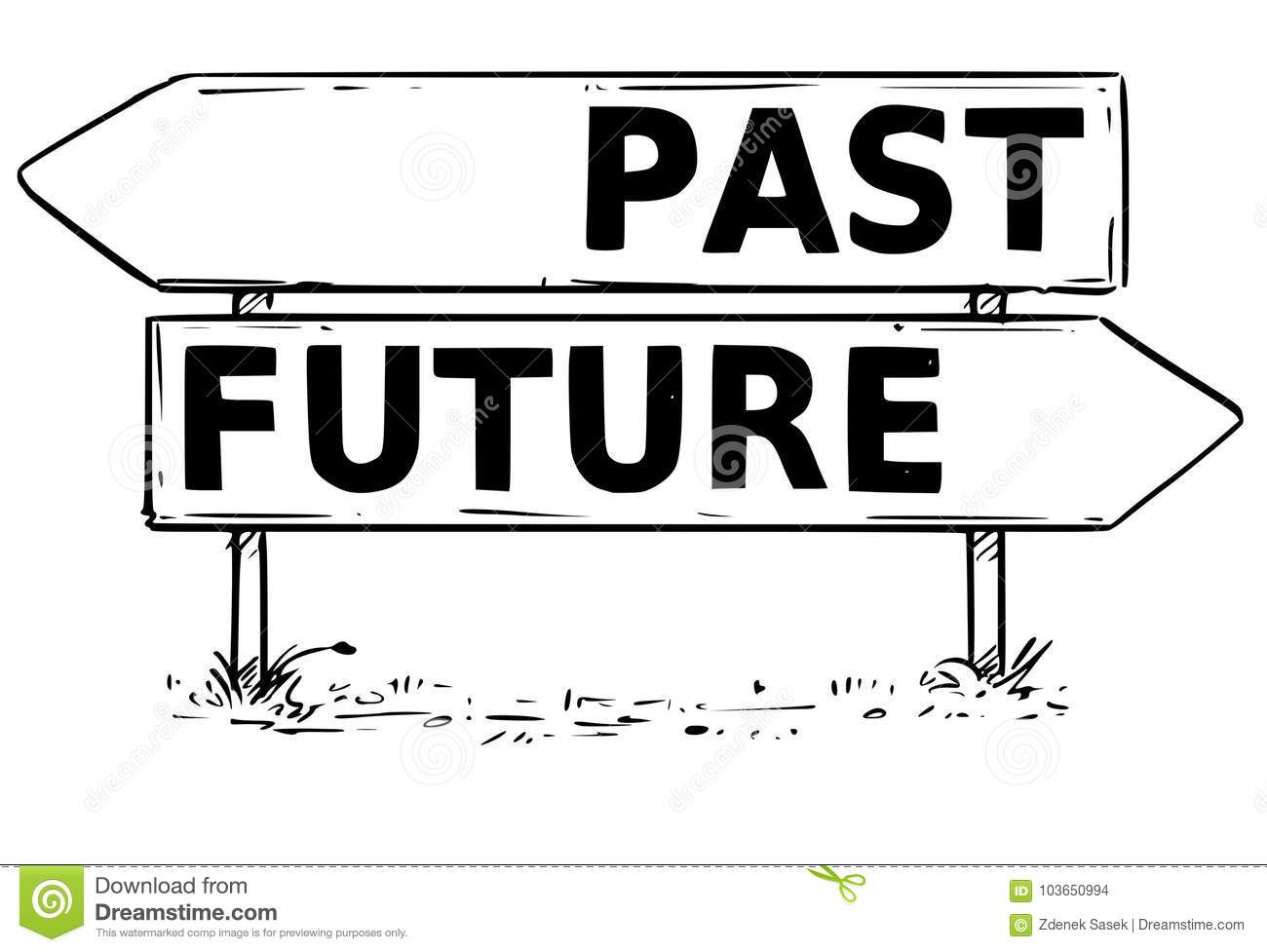 Two Arrow Sign Drawing Of Past Or Future Decision Stock