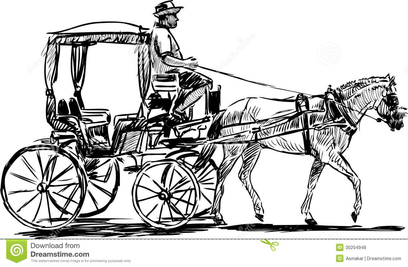Horse Drawn Carriage Stock Vector Illustration Of Horse