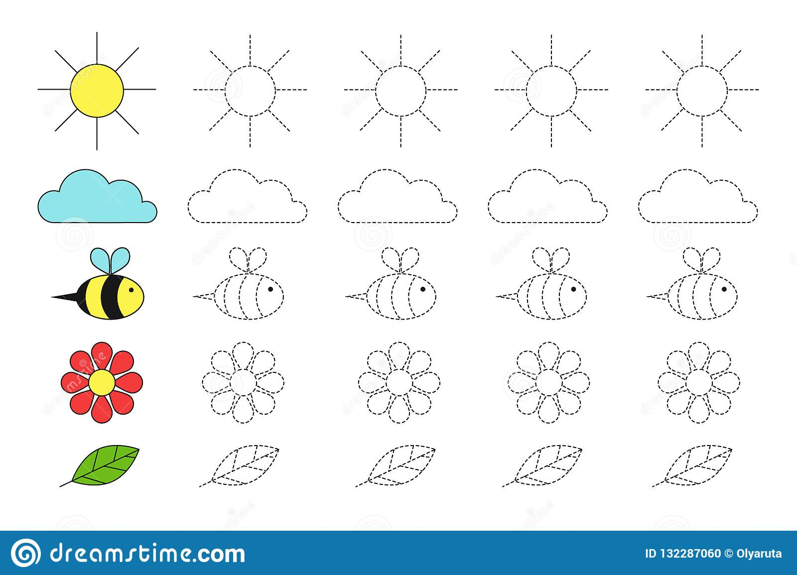 Simple Educational Game With Sun Cloud Bee Flower And Leaf For Children Stock Vector