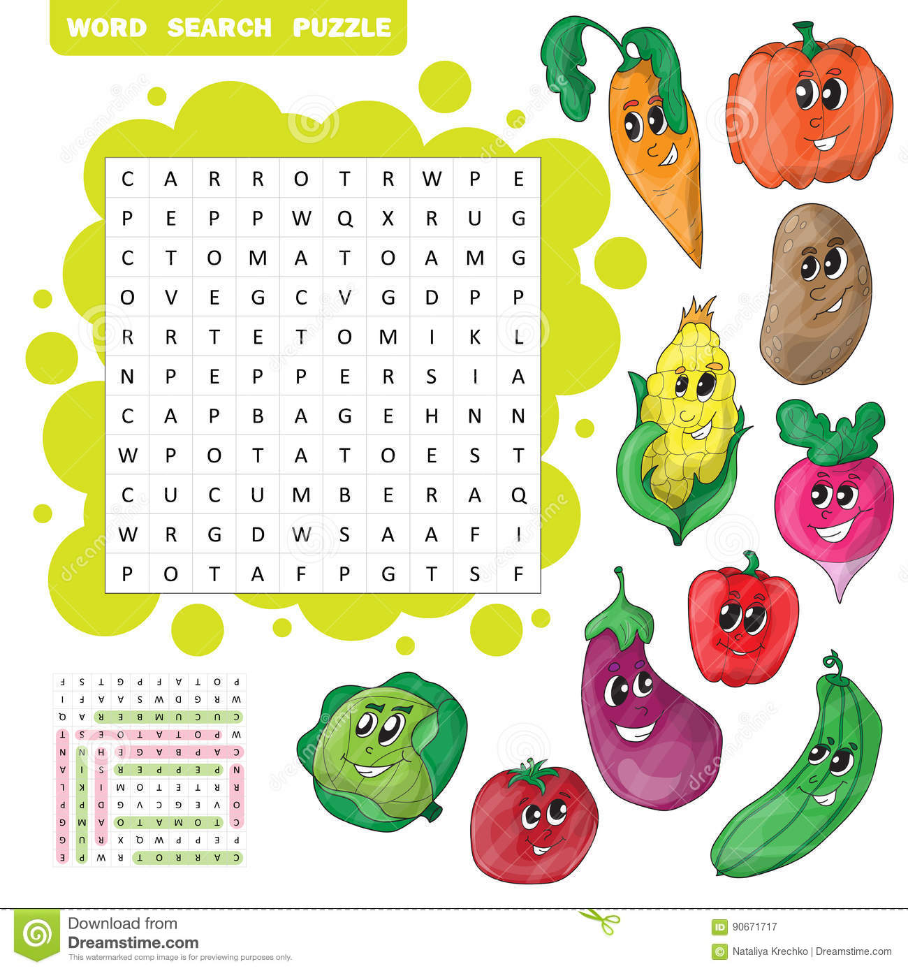 Vector Education Game For Children About Vegetables Word