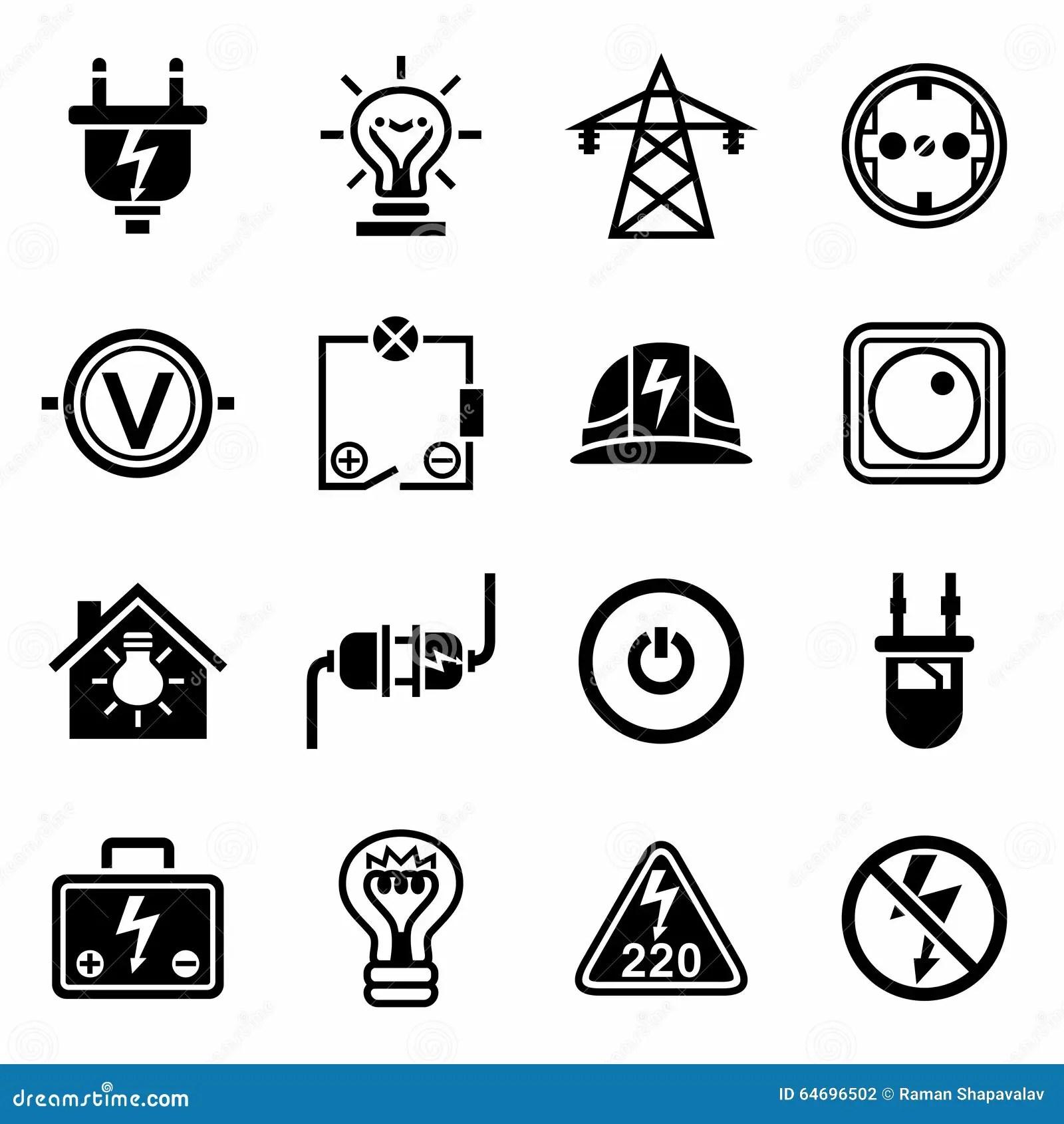 Vector Electricity Icon Set Stock Vector