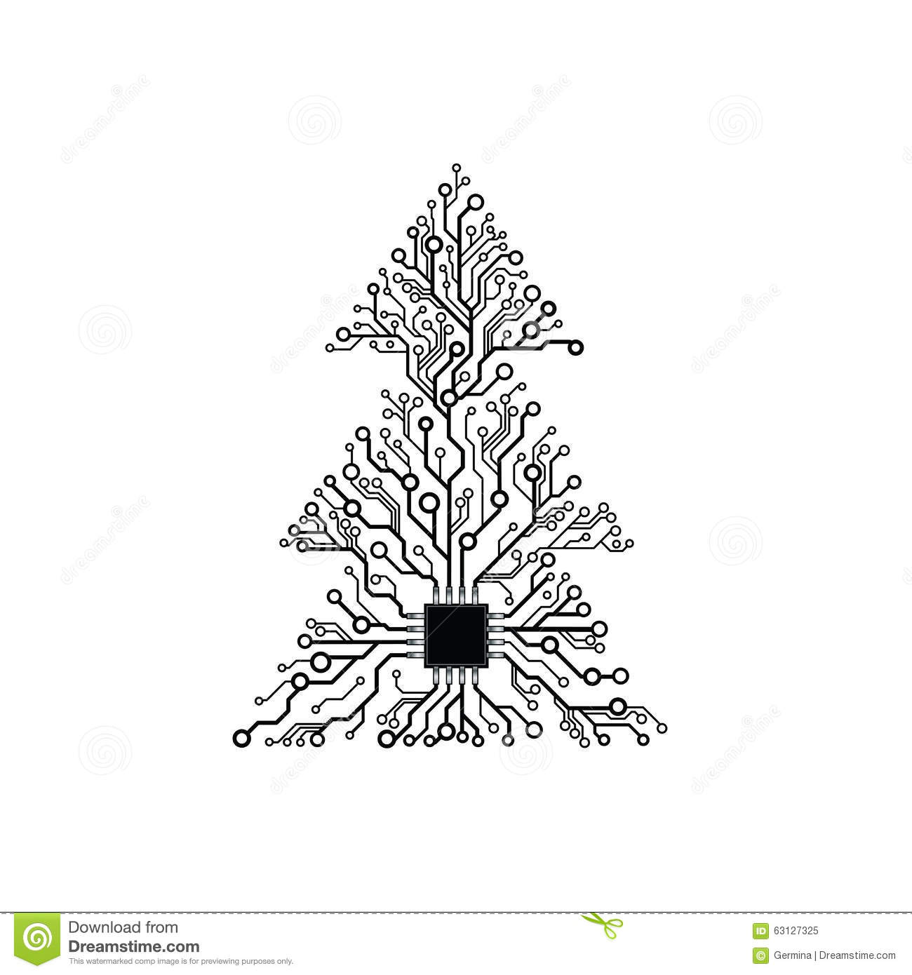 Vector Simple Electronic Tree Vector Illustration