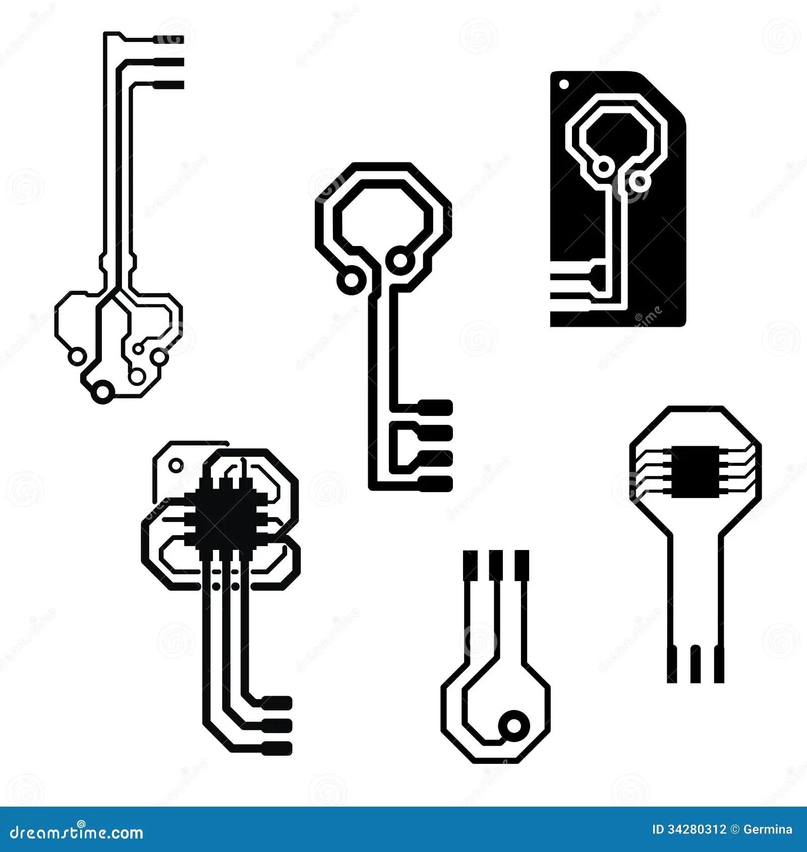 Vector Electronic Circuit Keys Stock Vector