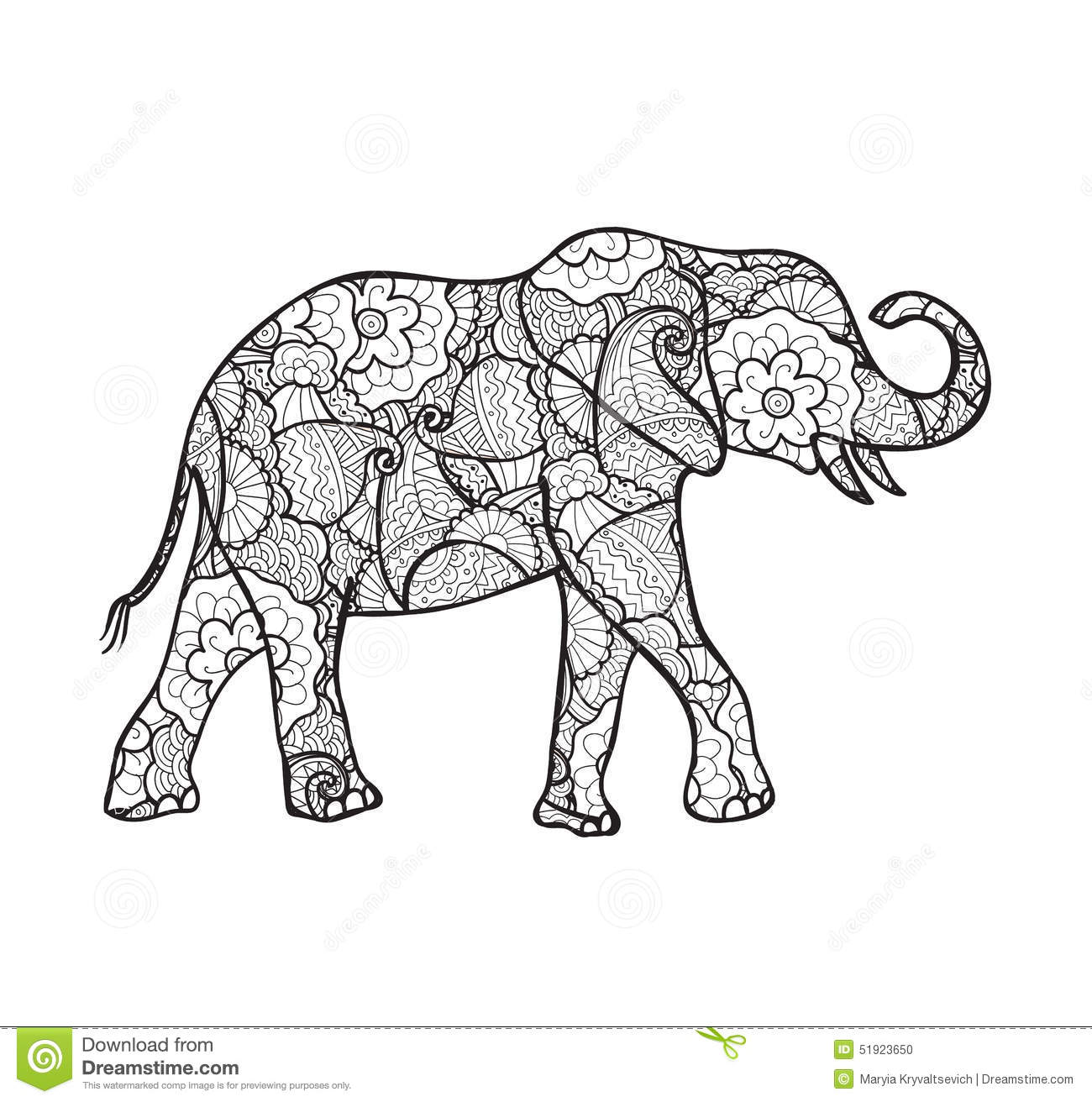 Vector Elephant Silhouette With Abstract Pattern Stock