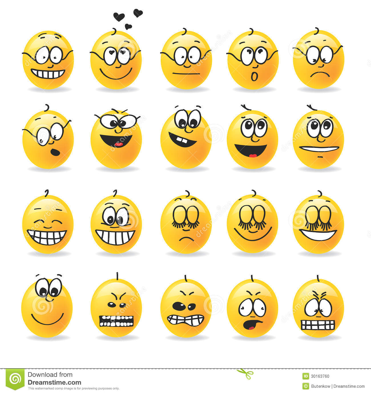 Vector Smiley Emotions Moods Stock Photo