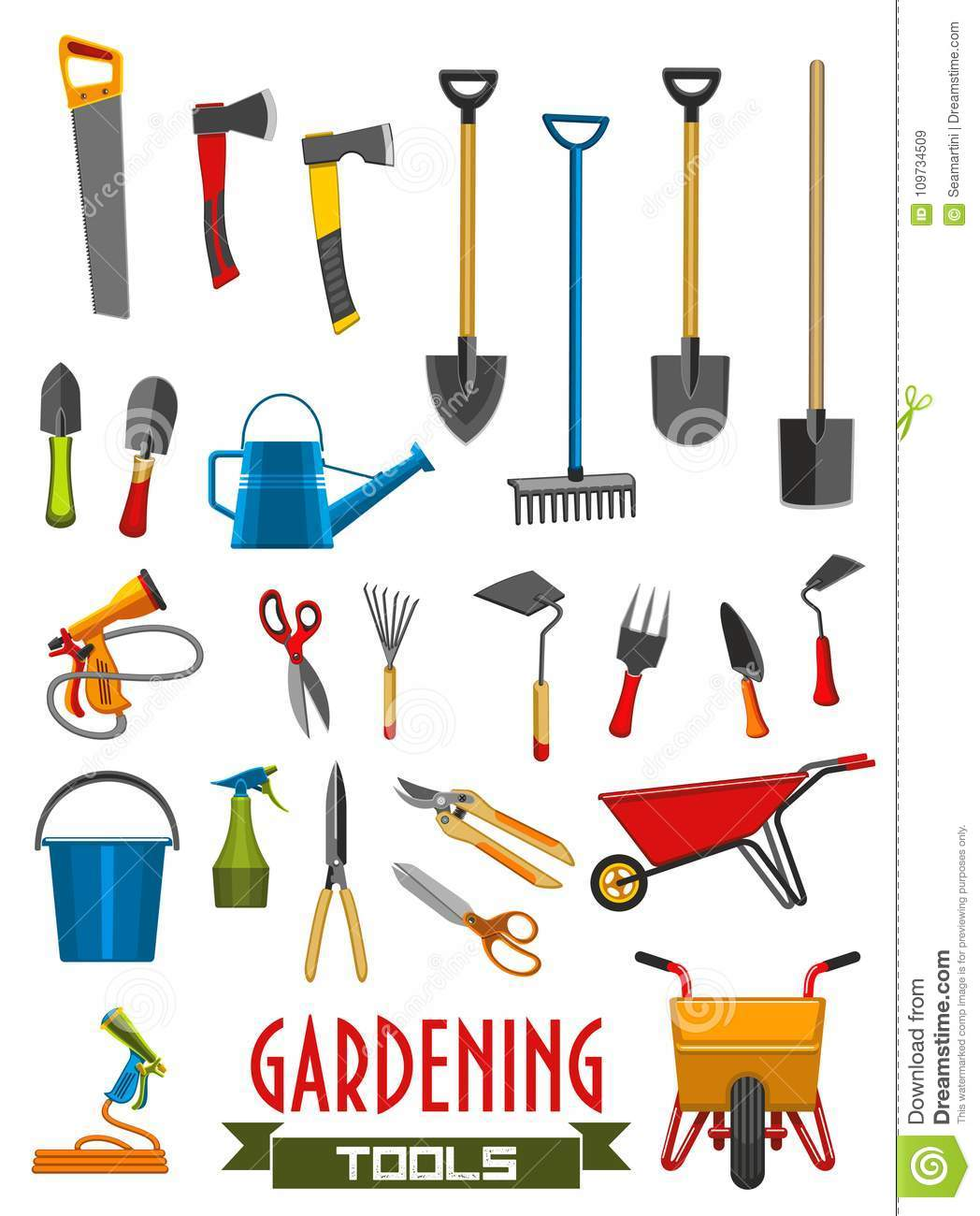 Vector Farm Gardening Tools Isolated Icons Stock Vector
